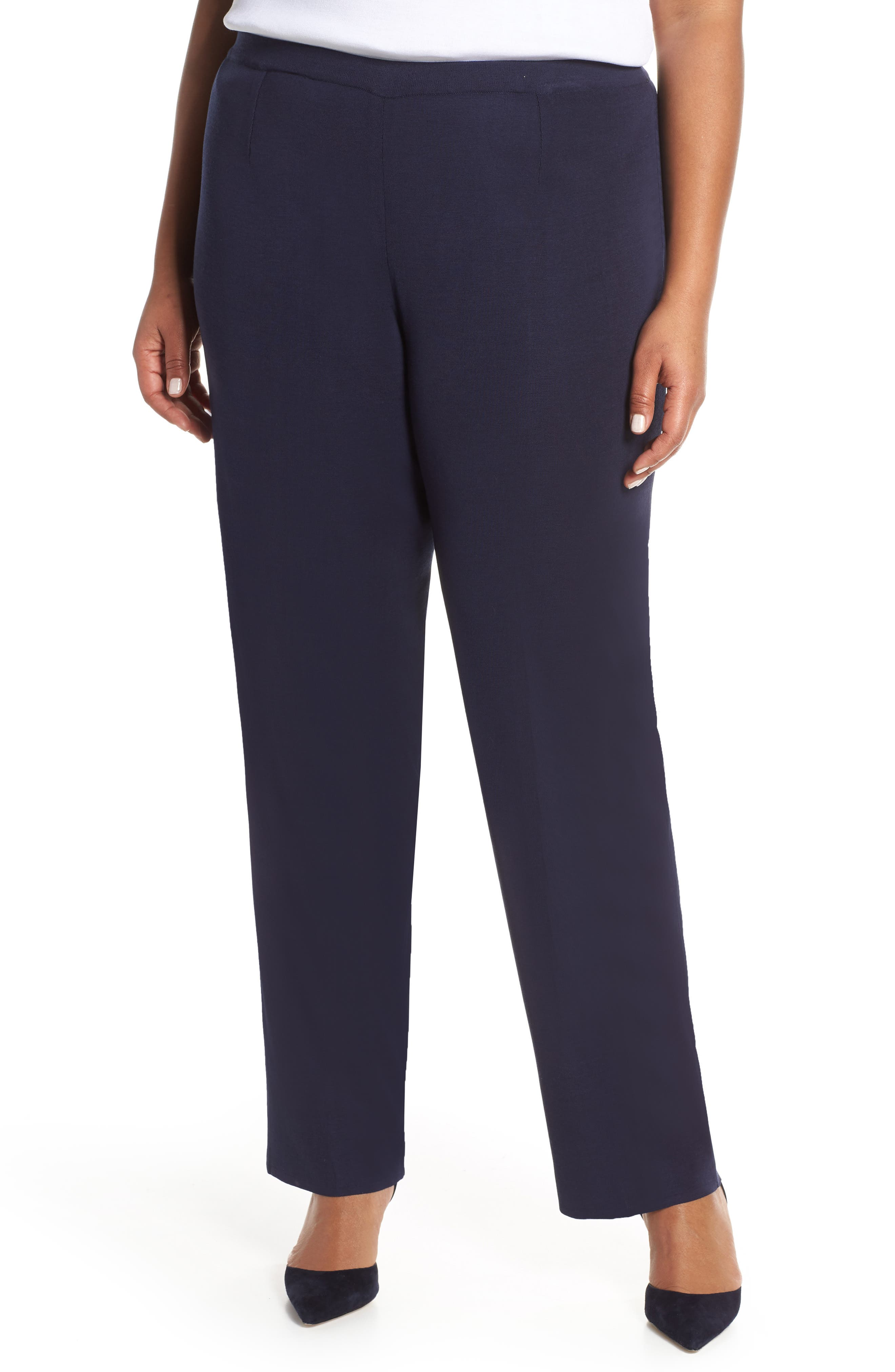 Plus Size Ming Wang Pull-On Pants, Blue