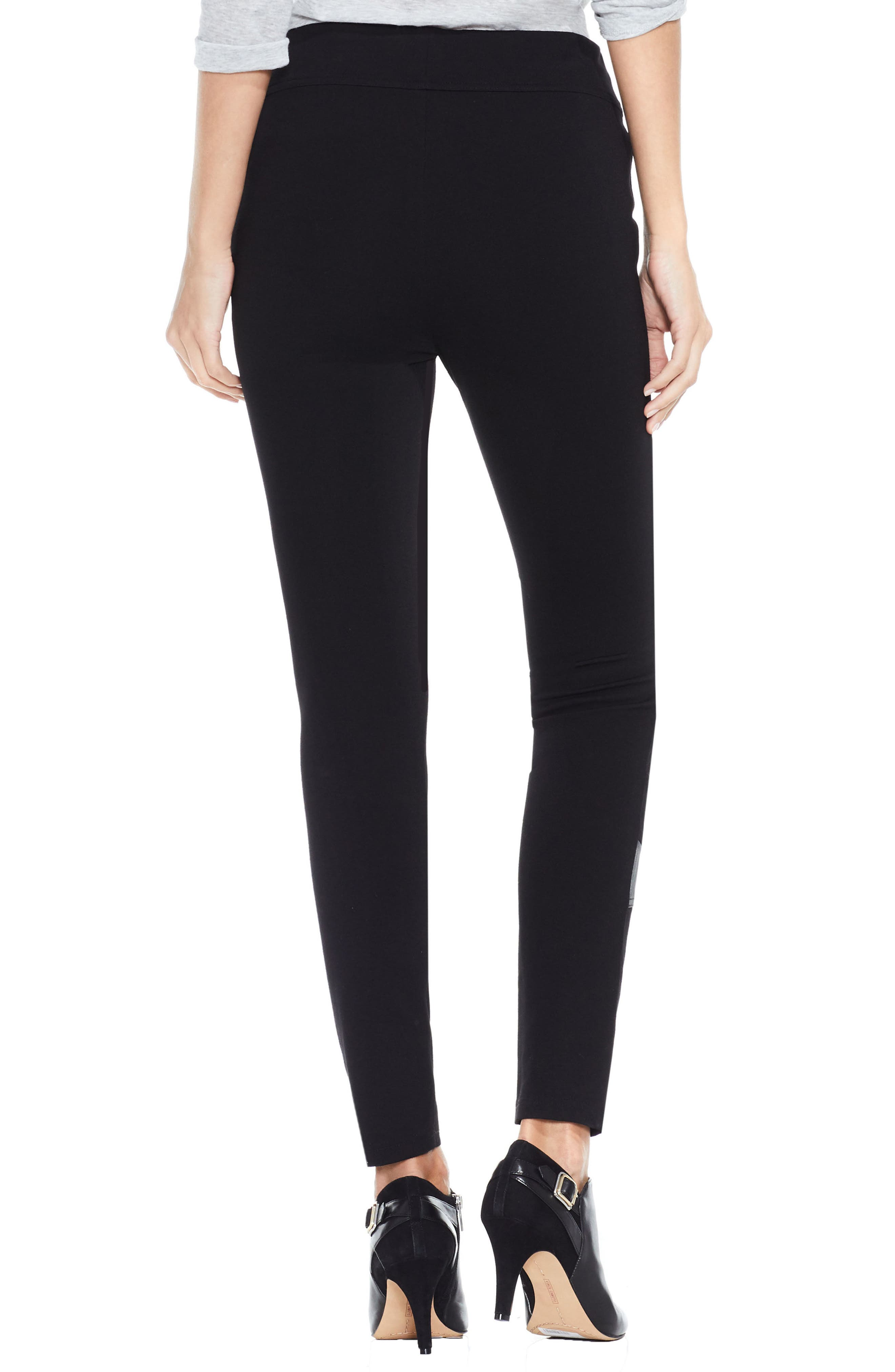 Two by Vince Camuto Faux Leather Trim Moto Leggings,                             Alternate thumbnail 3, color,