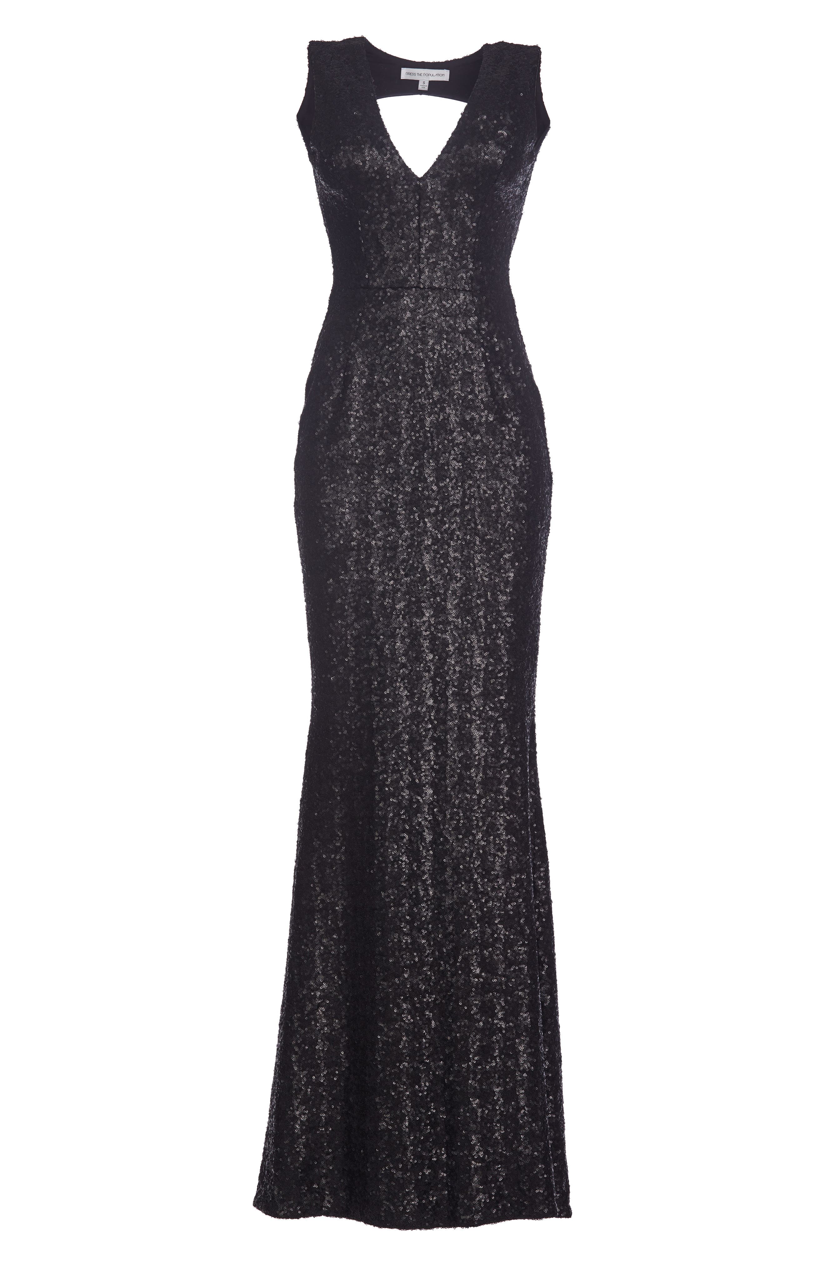 Karina Plunge Mermaid Gown,                             Alternate thumbnail 6, color,                             MATTE BLACK