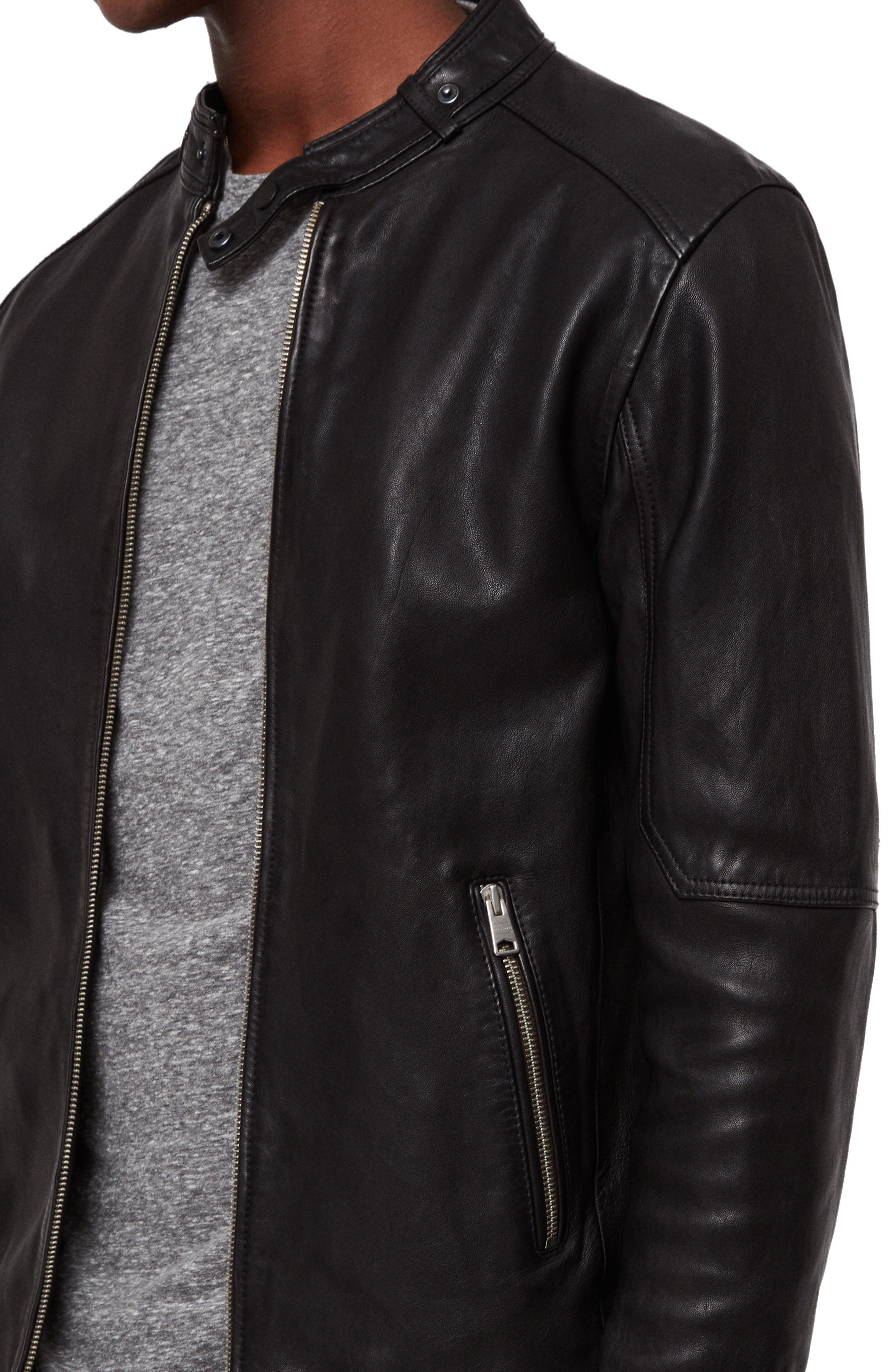Cora Leather Jacket,                             Alternate thumbnail 4, color,                             003