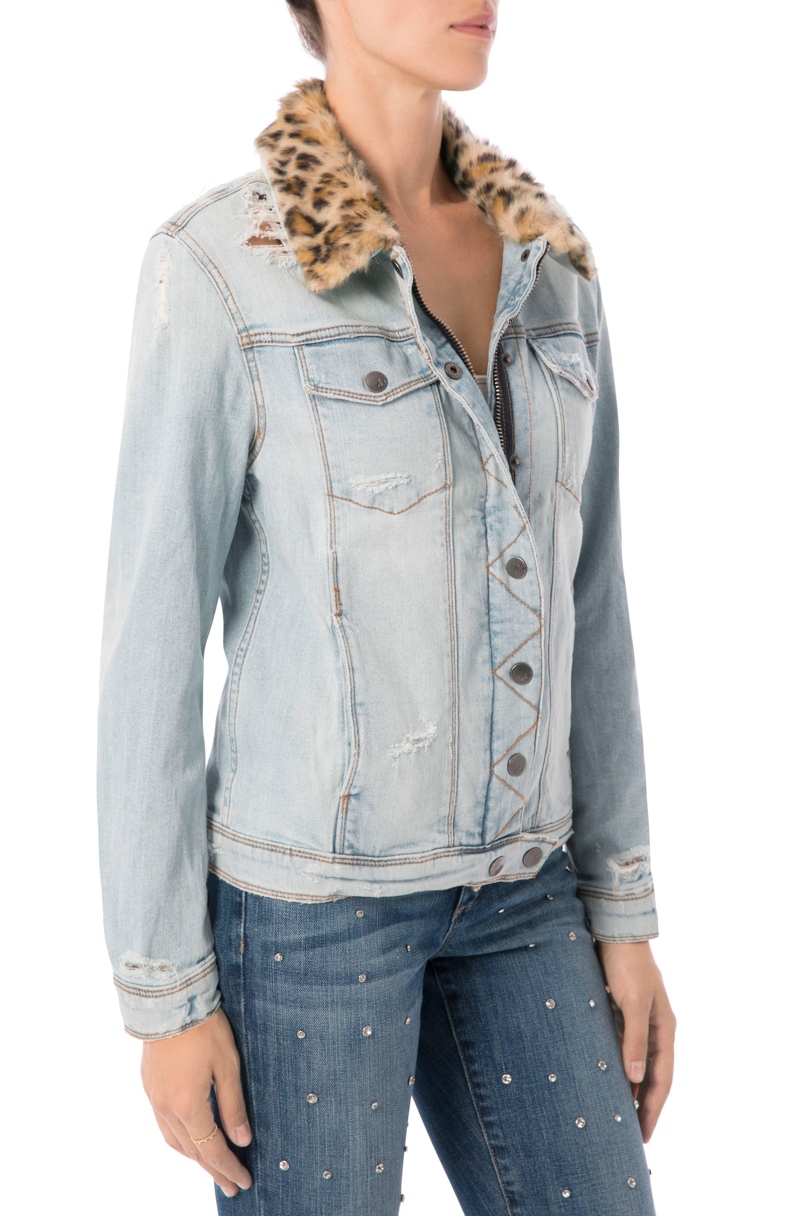 The Harper Faux Fur Collar Jacket,                             Alternate thumbnail 3, color,