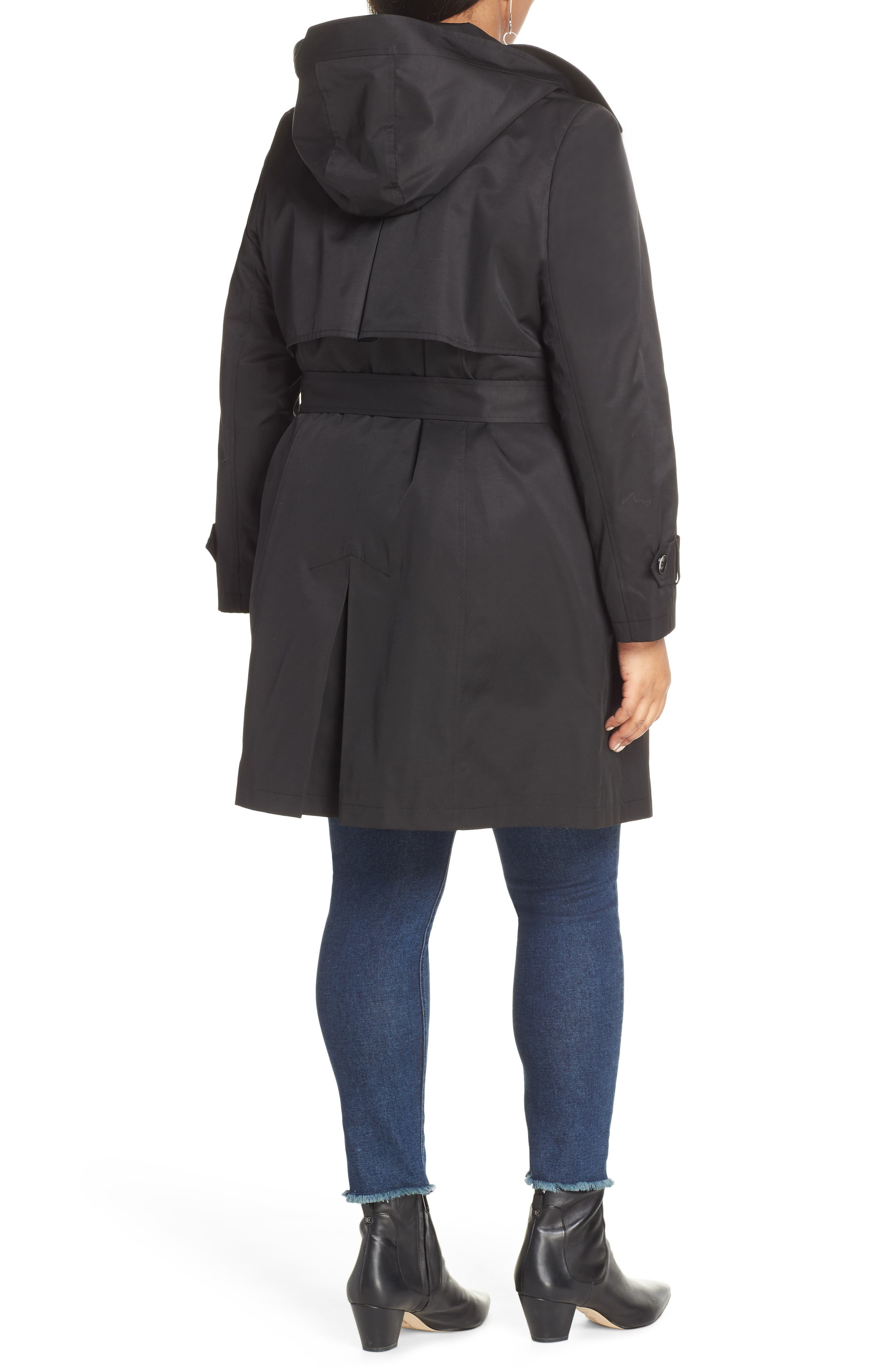 HALOGEN<SUP>®</SUP>,                             Double Breasted Hooded Trench Coat,                             Alternate thumbnail 2, color,                             BLACK