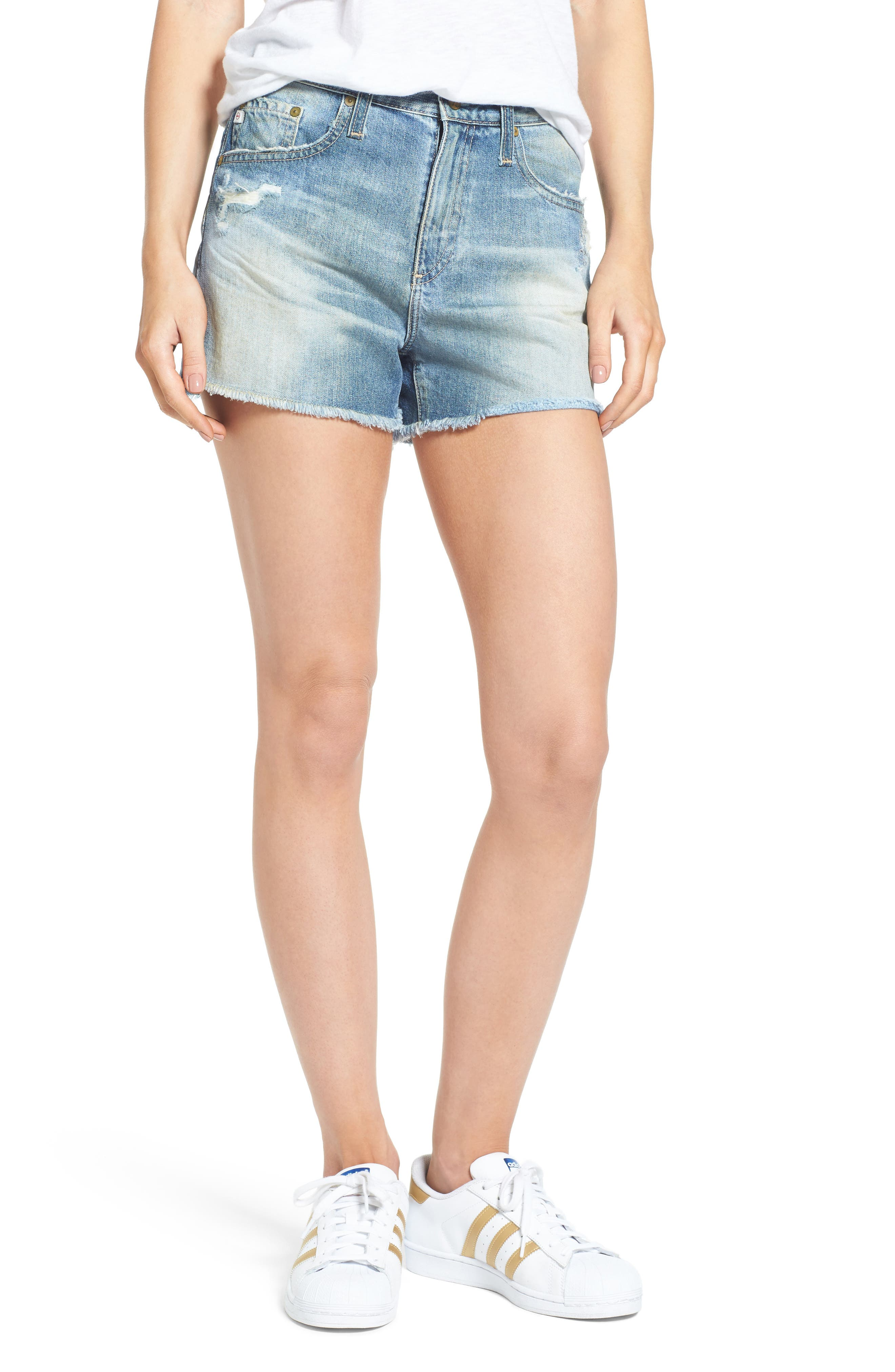 Sadie High Waist Cutoff Denim Shorts,                             Main thumbnail 1, color,                             403