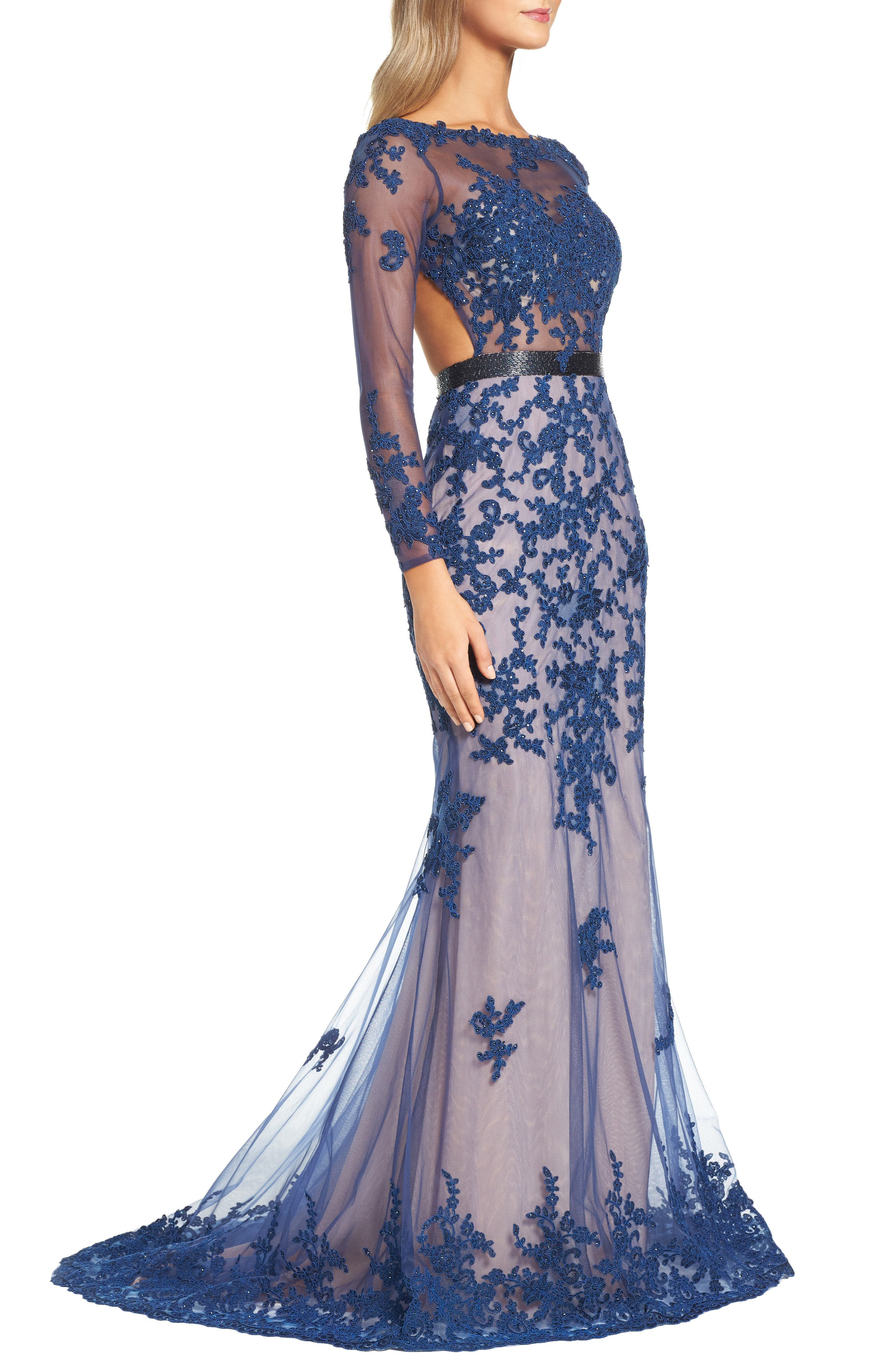 Open Back Embroidered Tulle Gown,                             Alternate thumbnail 5, color,