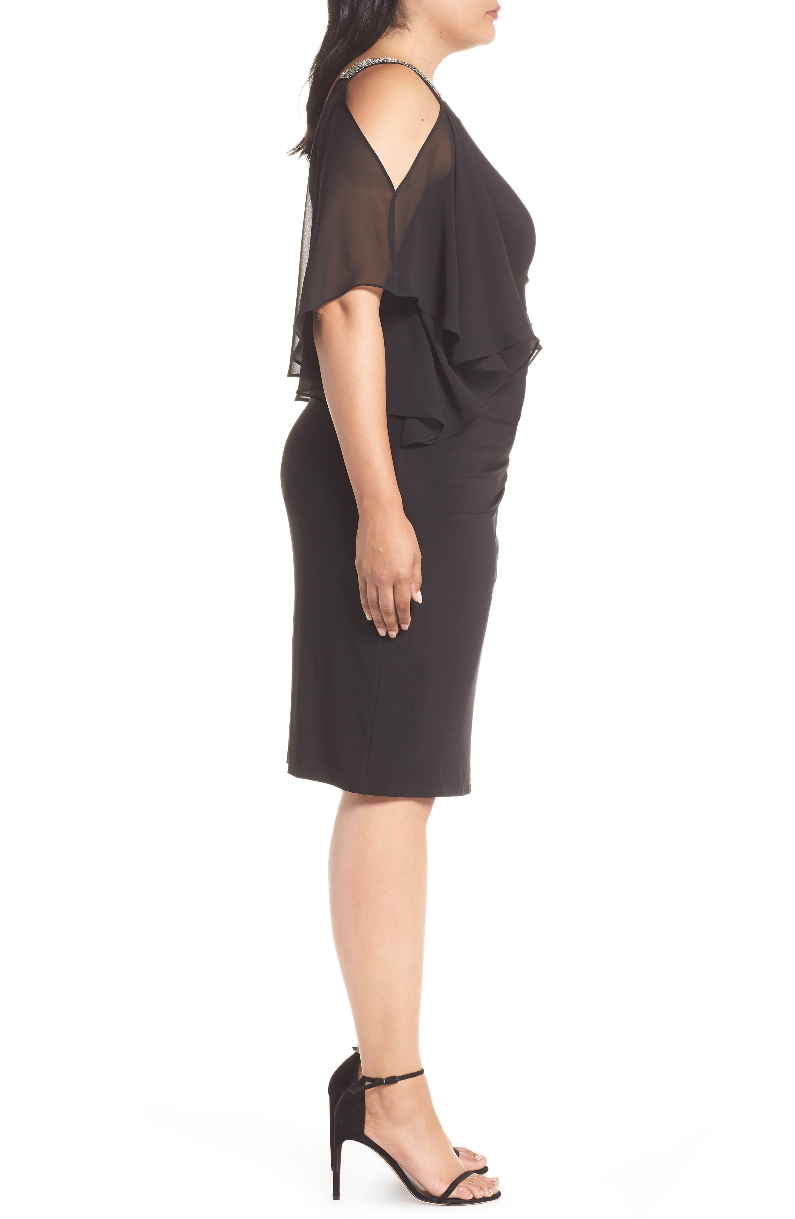 Cold Shoulder Sparkle Dress,                             Alternate thumbnail 3, color,                             BLACK/ SILVER