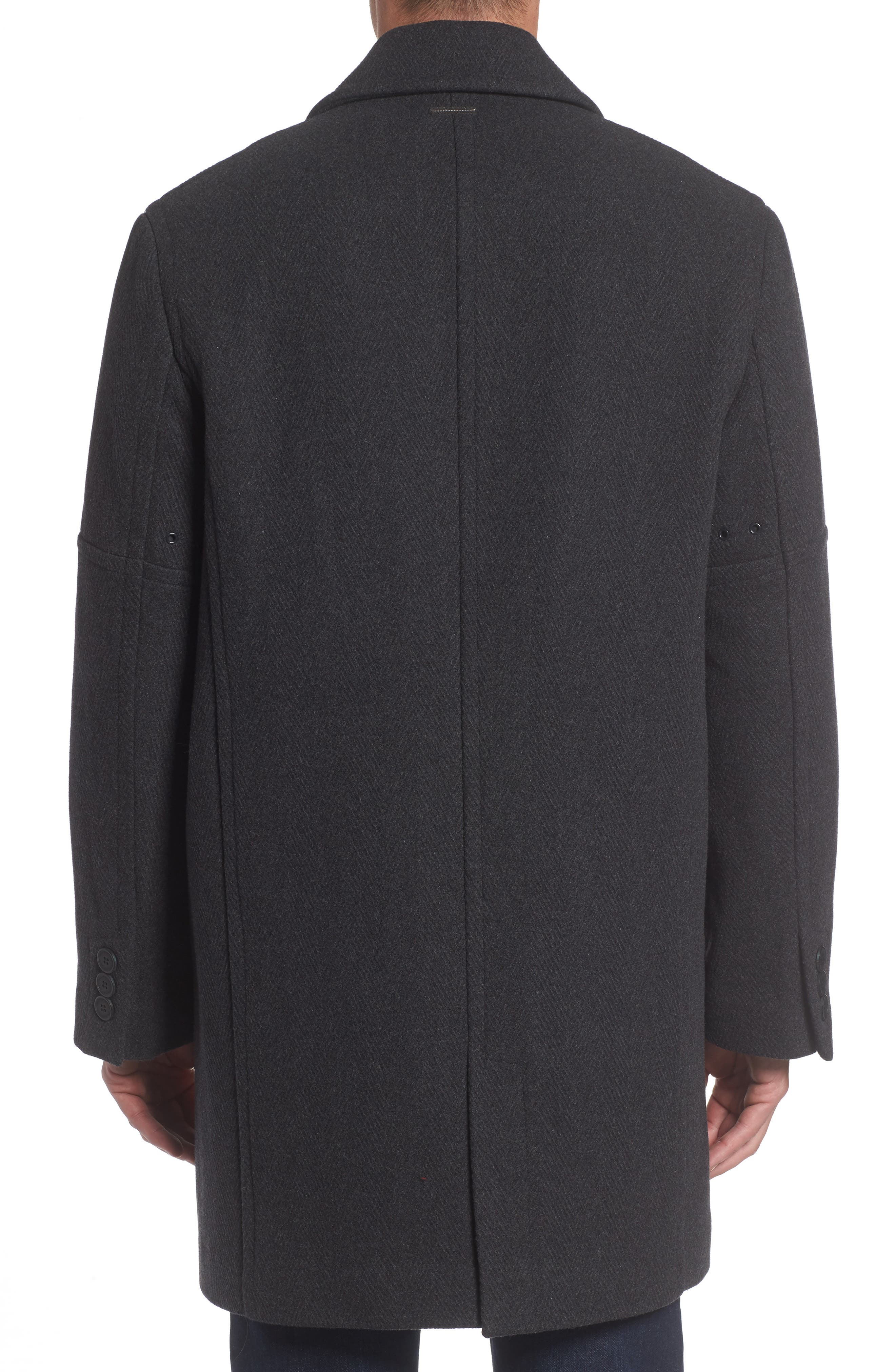 Herringbone Wool Blend Car Coat,                             Alternate thumbnail 3, color,