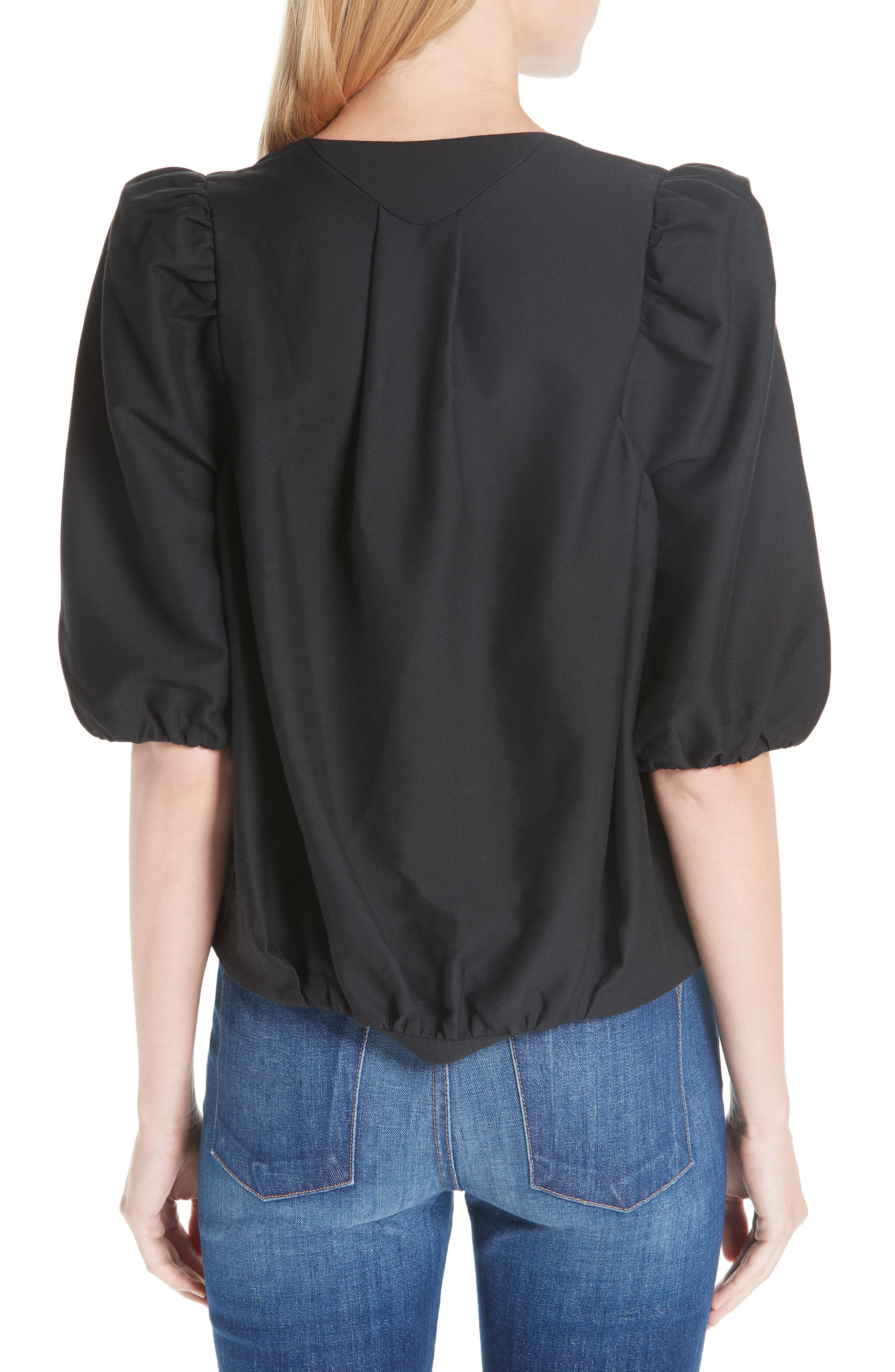 Petra Cotton Blend Puff Sleeve Blouse,                             Alternate thumbnail 2, color,                             BLACK