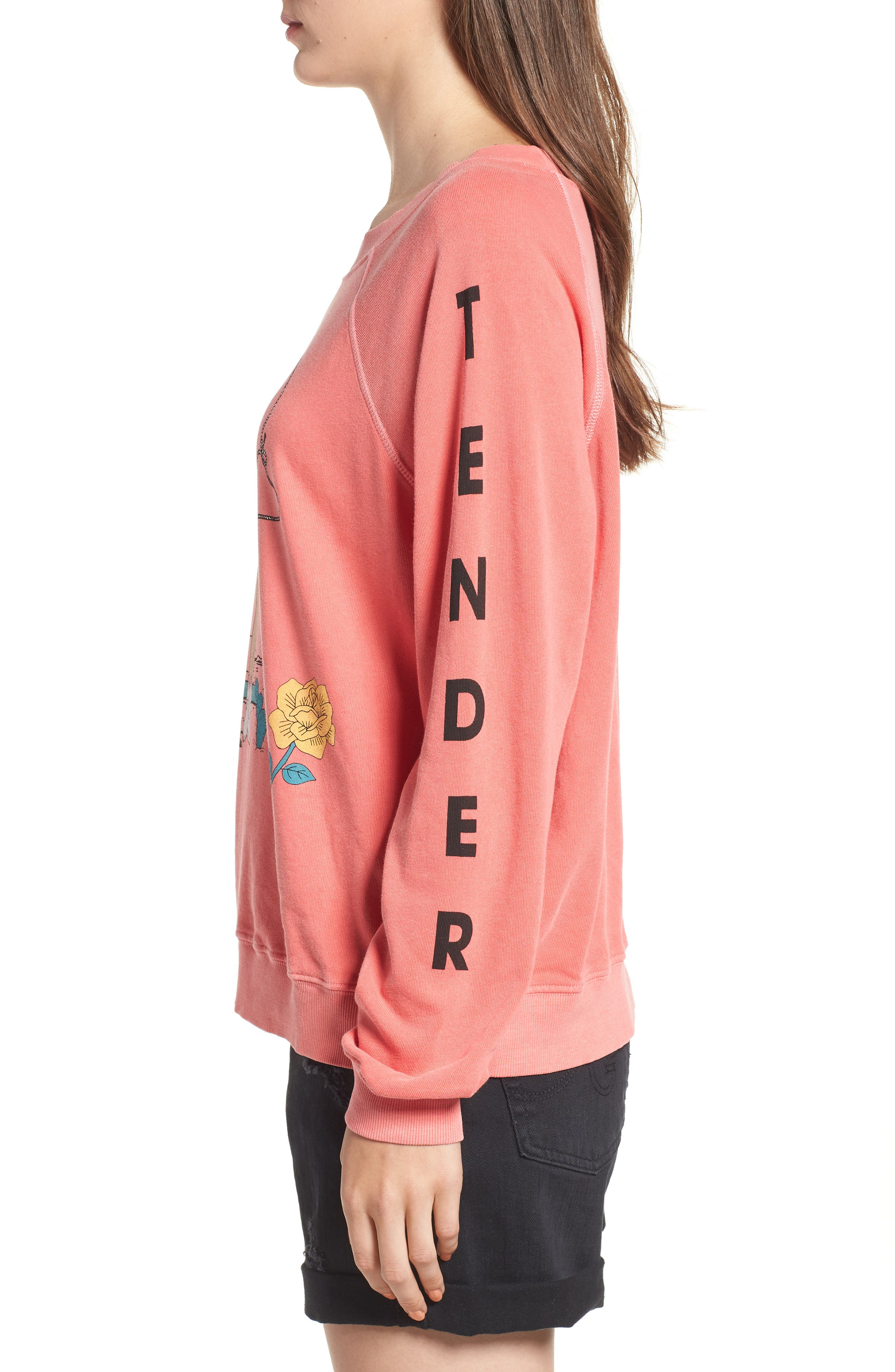 Love Me Tender Sommers Sweatshirt,                             Alternate thumbnail 4, color,                             PIGMENT HOT LIPSTICK