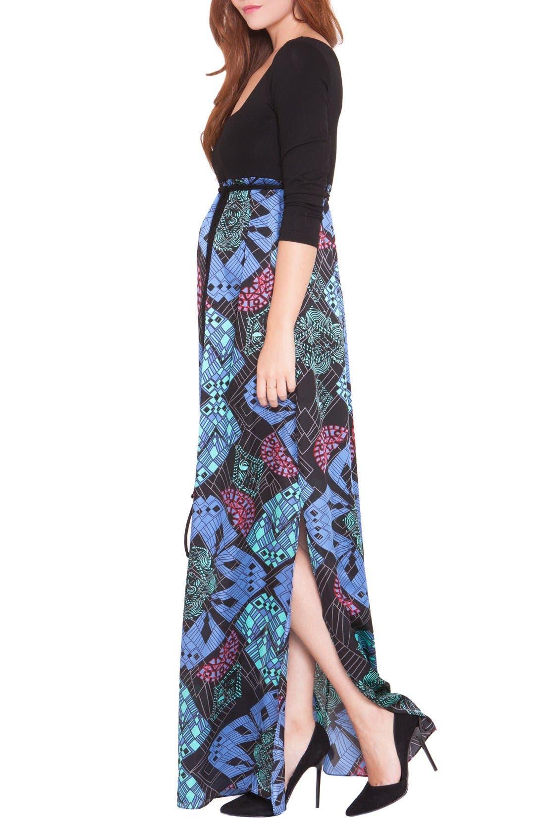 'Samantha' Maternity Maxi Dress,                             Alternate thumbnail 4, color,                             BLUE