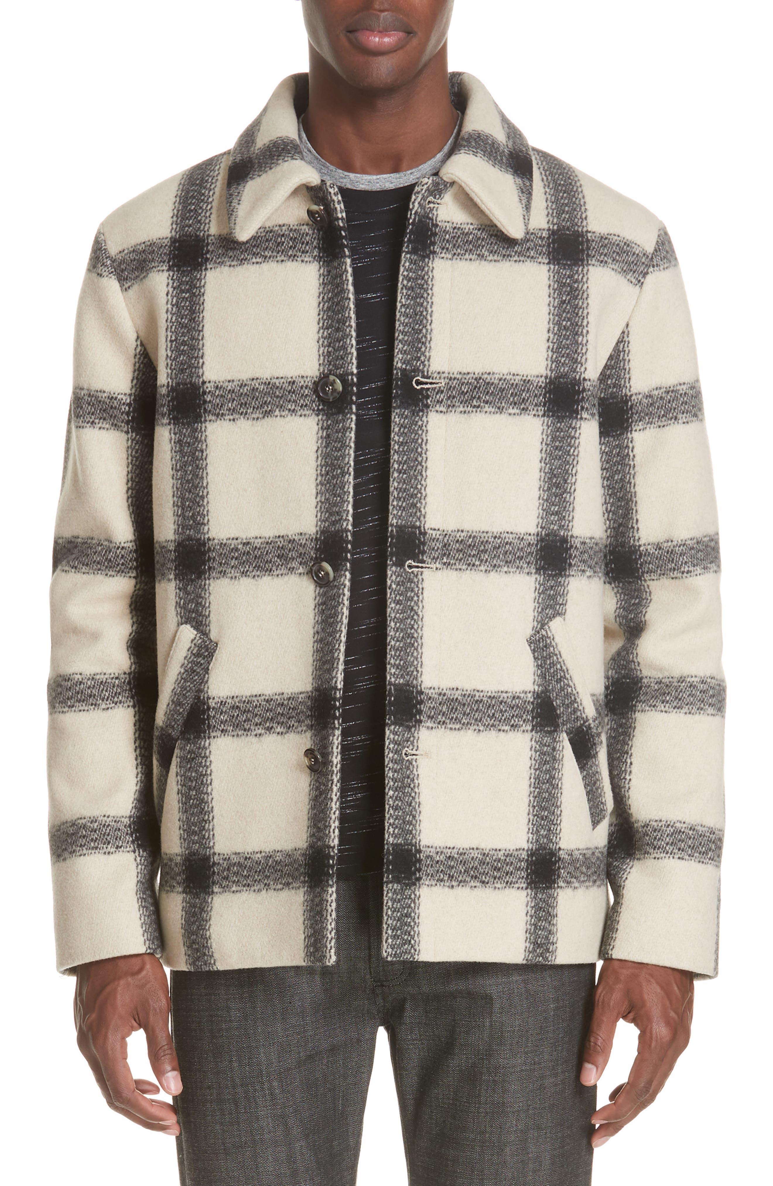 A.P.C. Veste Vancouver Wool Flannel Jacket, Main, color, ECRU AAD
