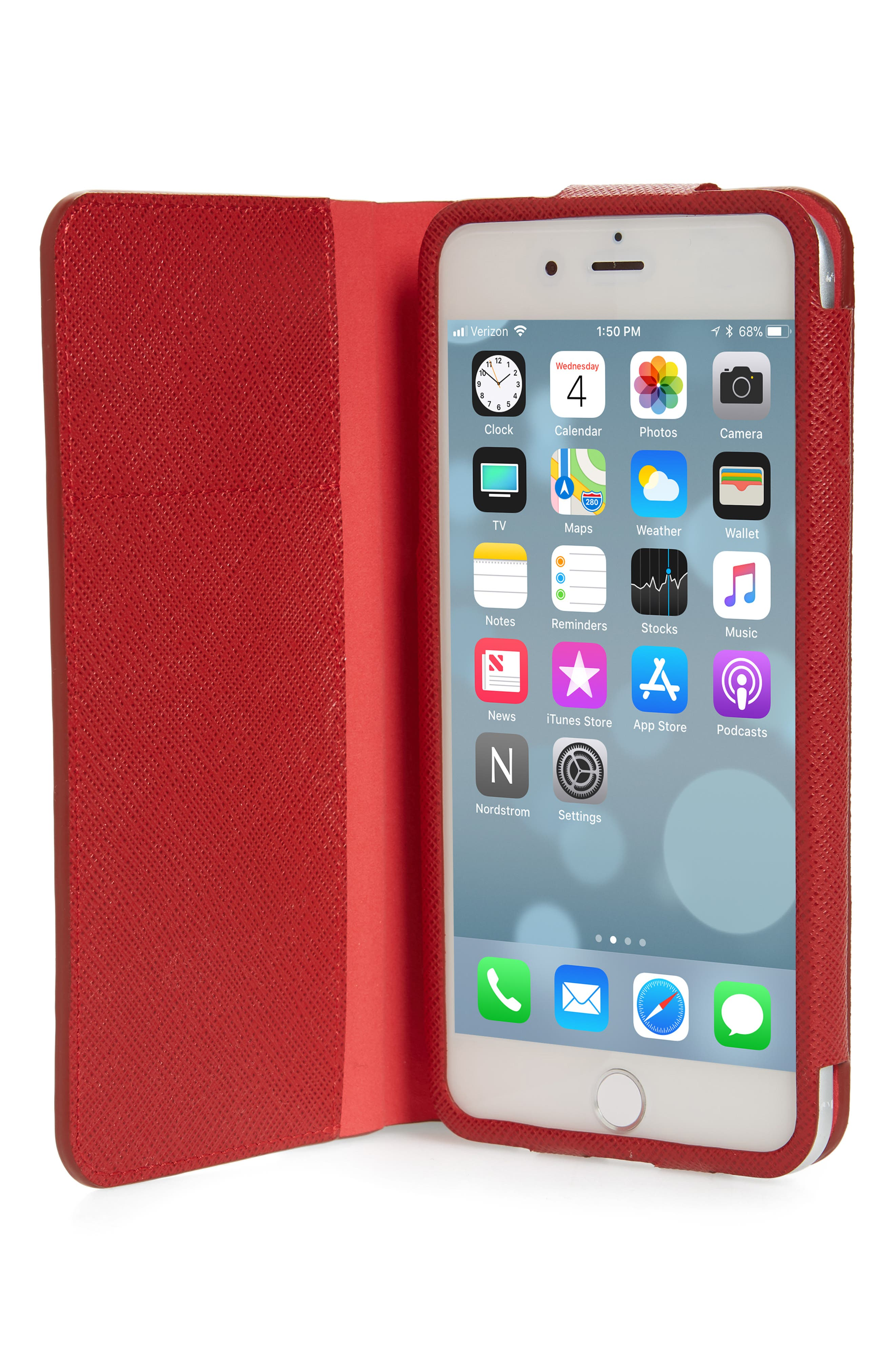 Saffiano Metal Oro Book iPhone 7 Plus Wallet,                             Alternate thumbnail 2, color,                             FUOCO