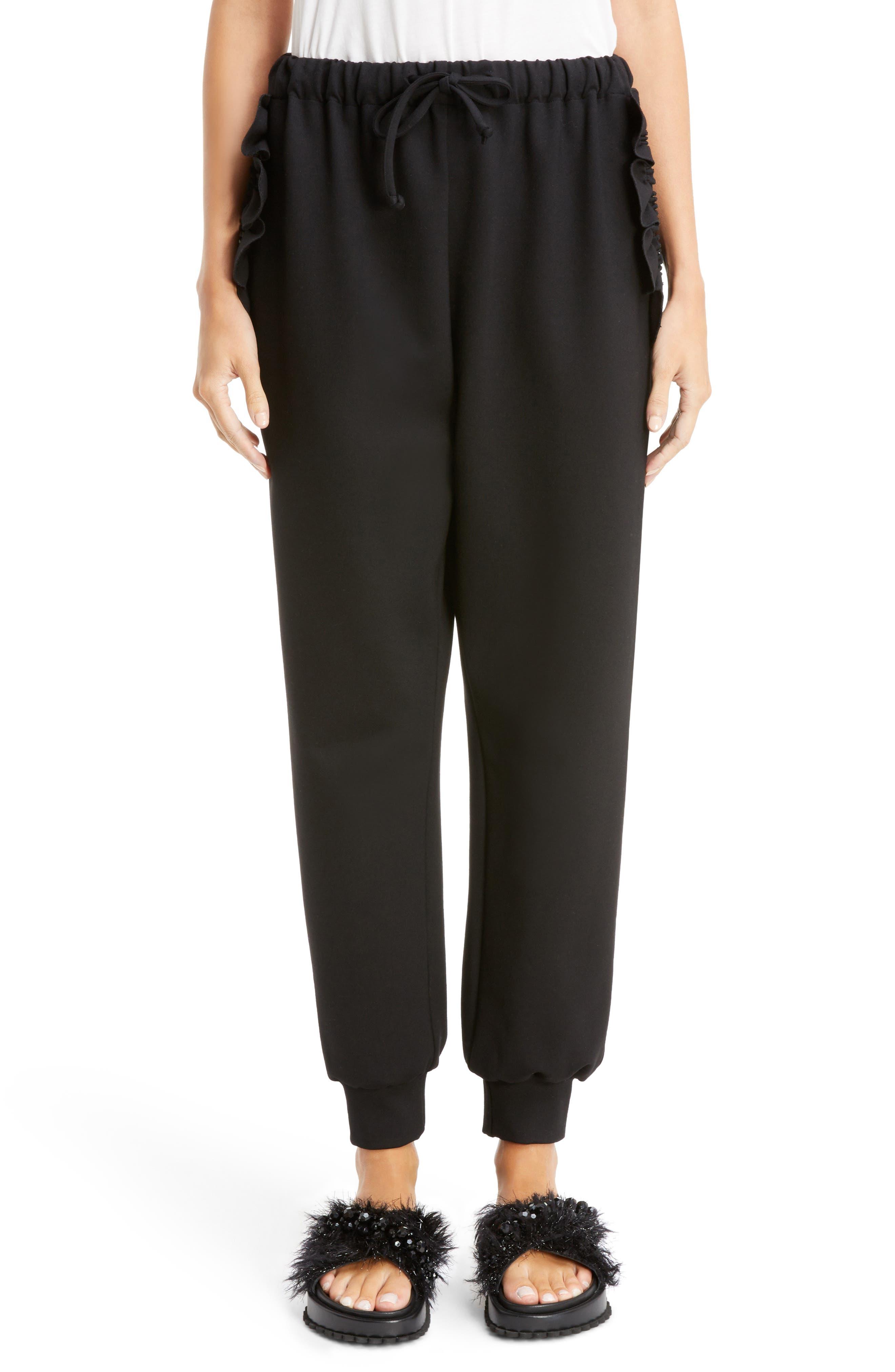 Ruffle Embellished Jogging Pants,                             Main thumbnail 1, color,                             BLACK