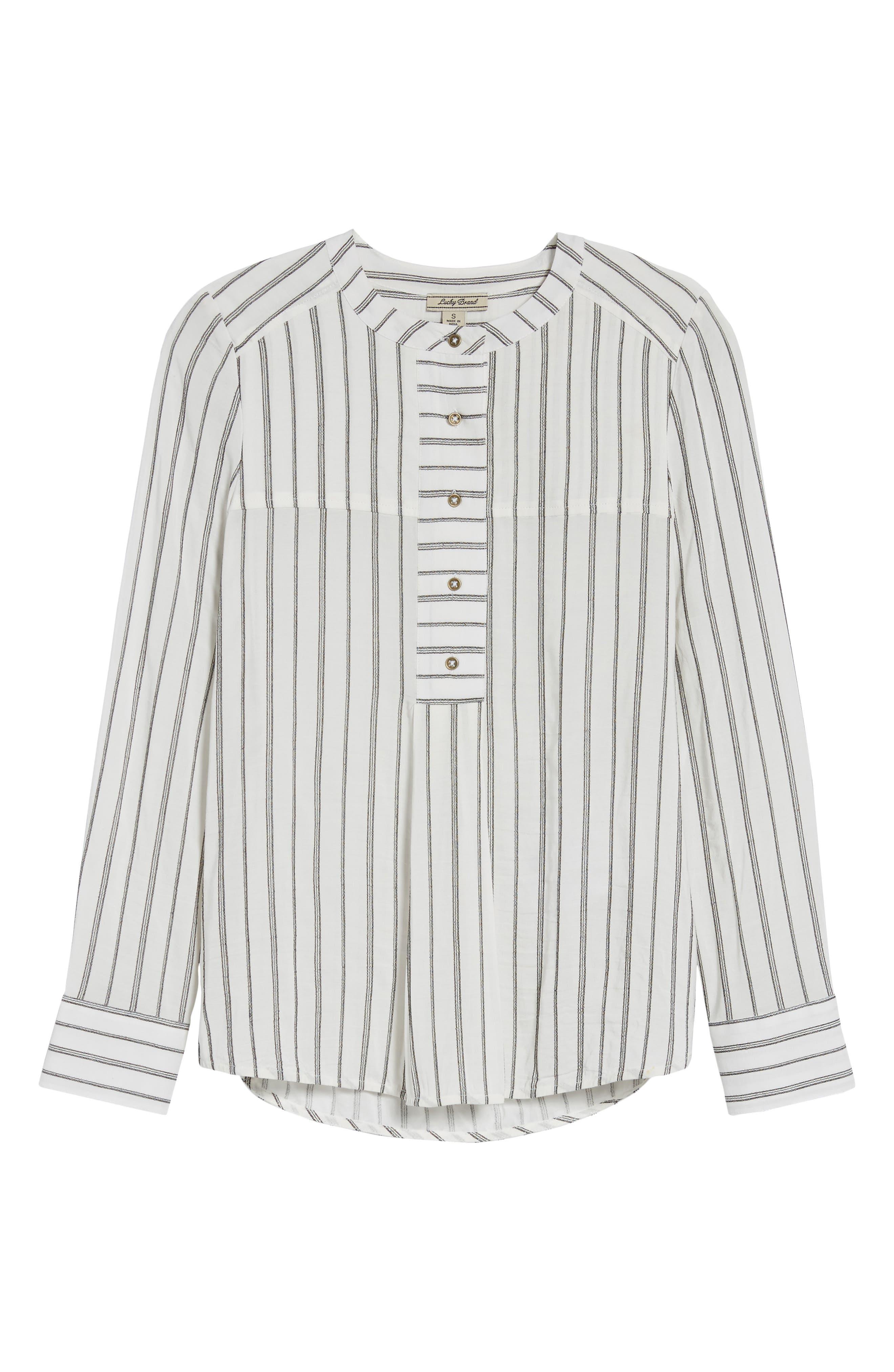 Woven Stripe Top,                             Alternate thumbnail 6, color,                             110