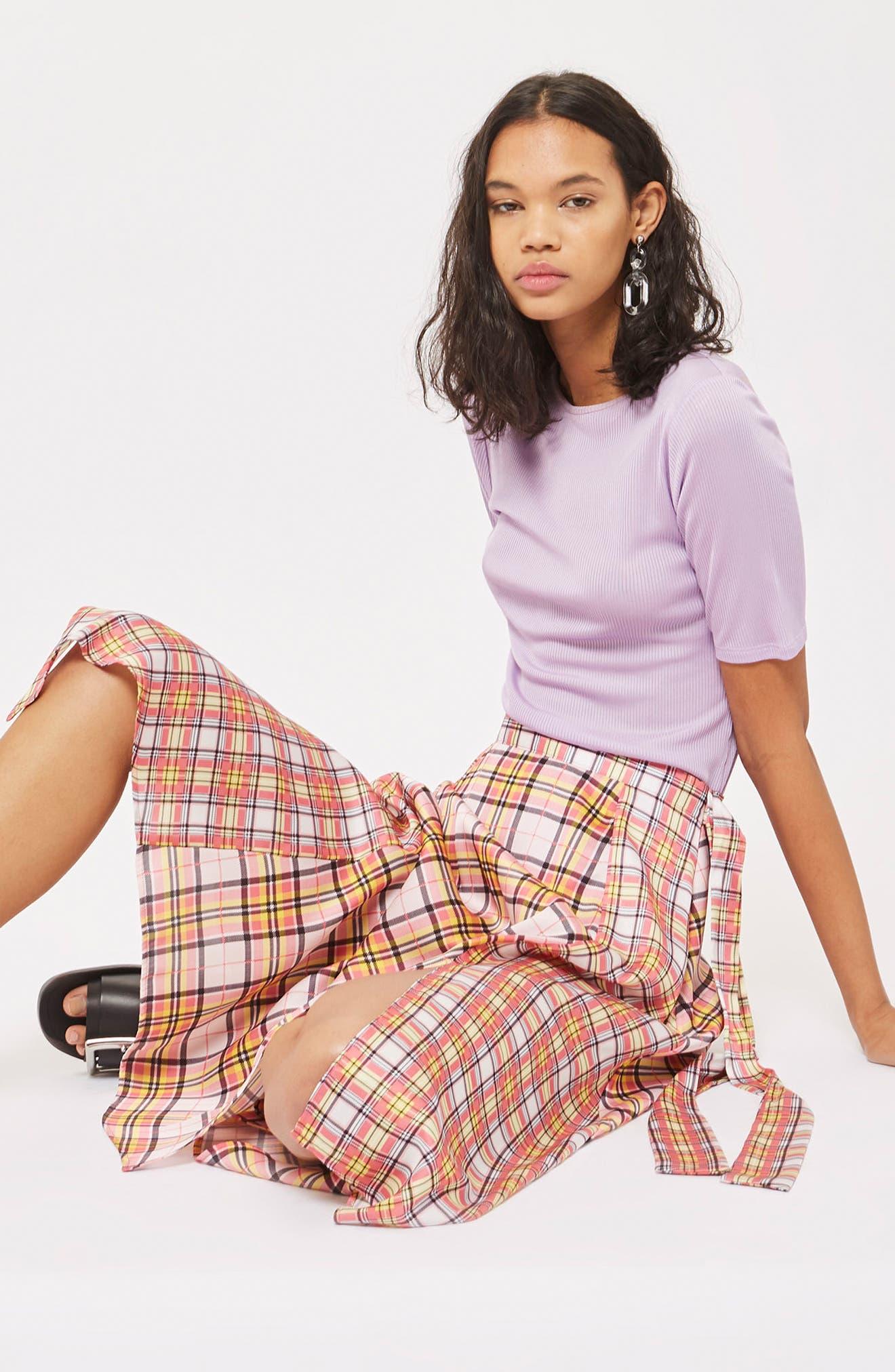 Mixed Check Midi Skirt,                             Alternate thumbnail 4, color,                             650
