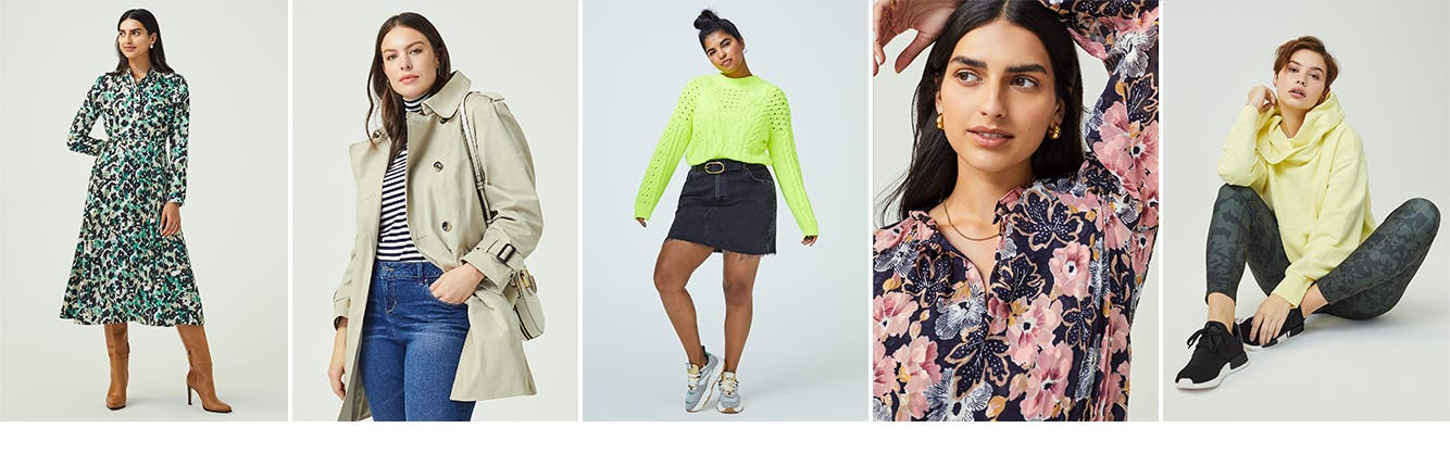 Women's dresses, sweaters, coats, tops and activewear.