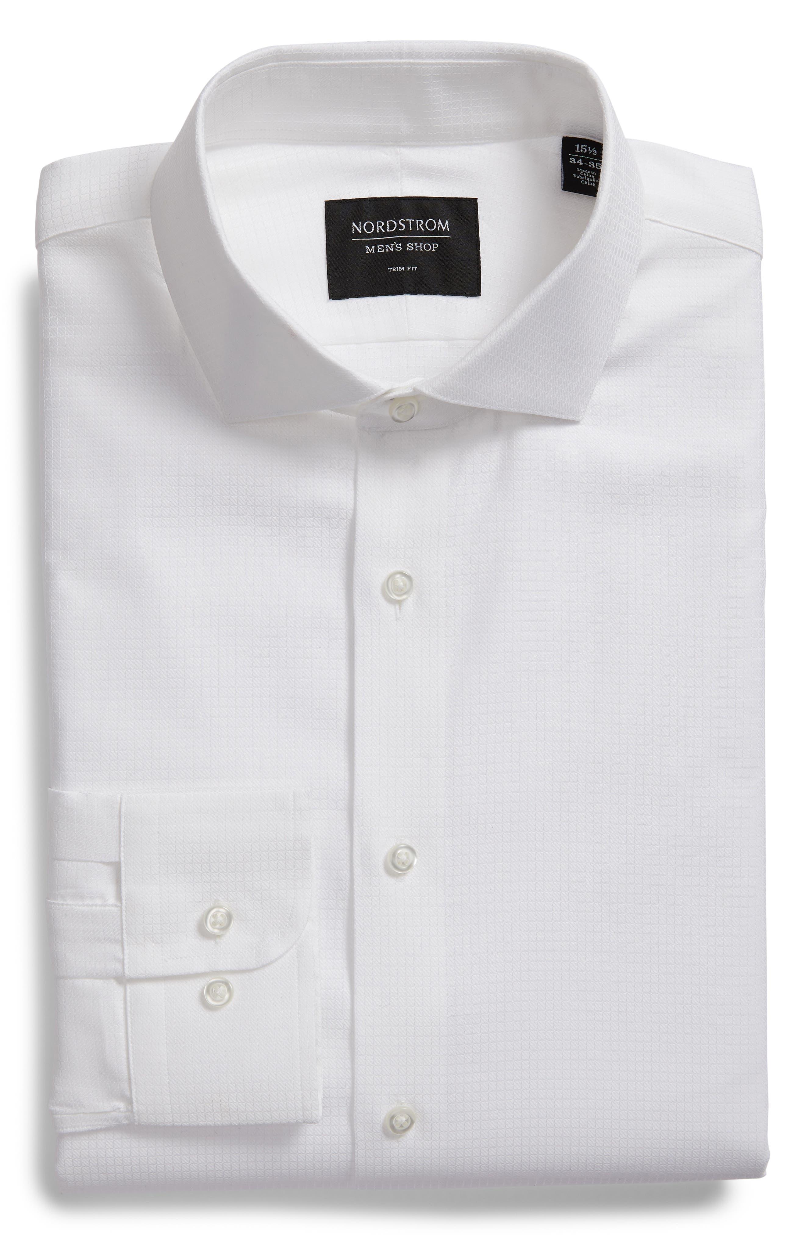 Trim Fit Check Dress Shirt,                             Alternate thumbnail 5, color,                             WHITE
