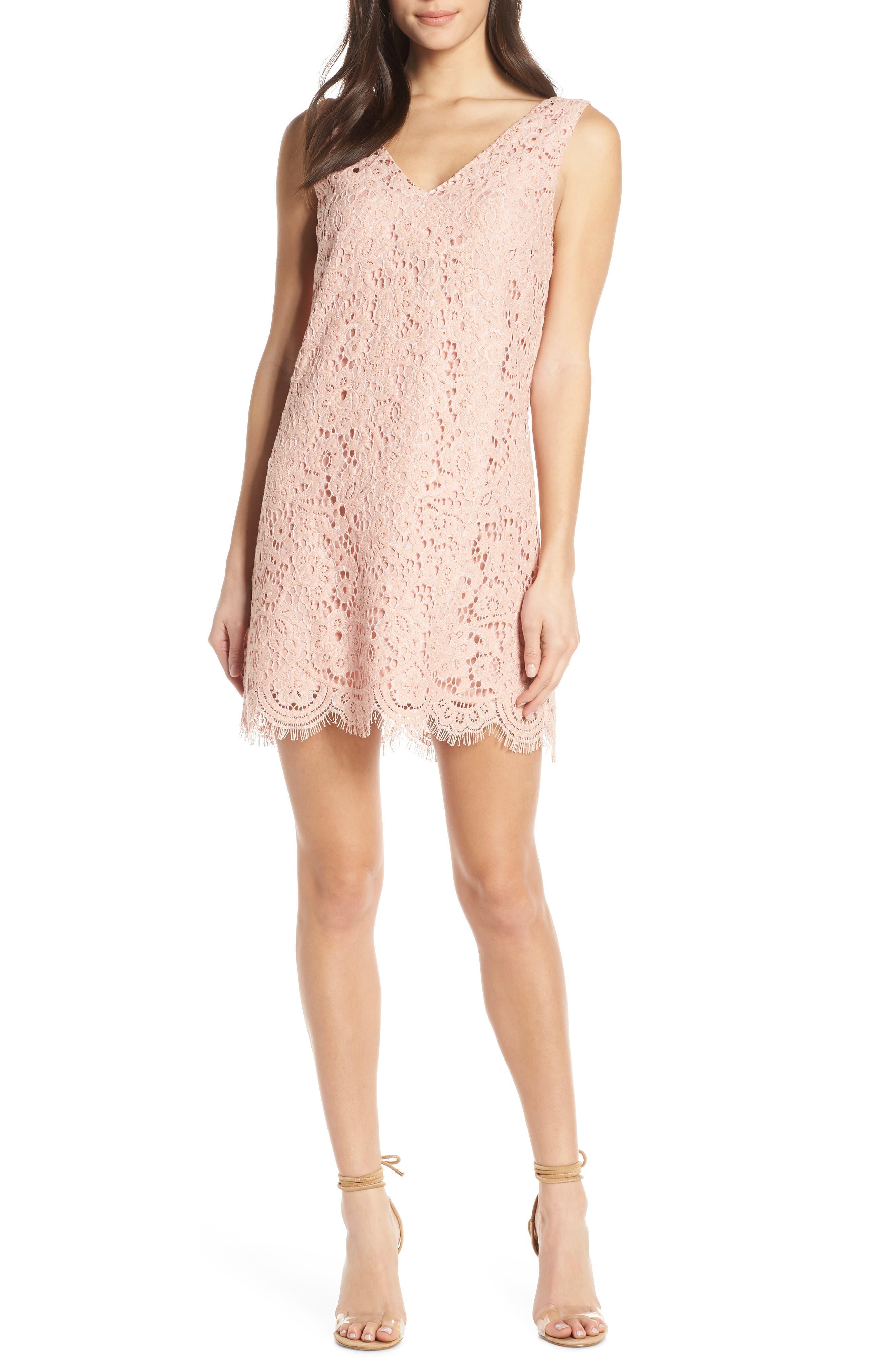 Bb Dakota Sleeveless Lace Shift Dress, Pink