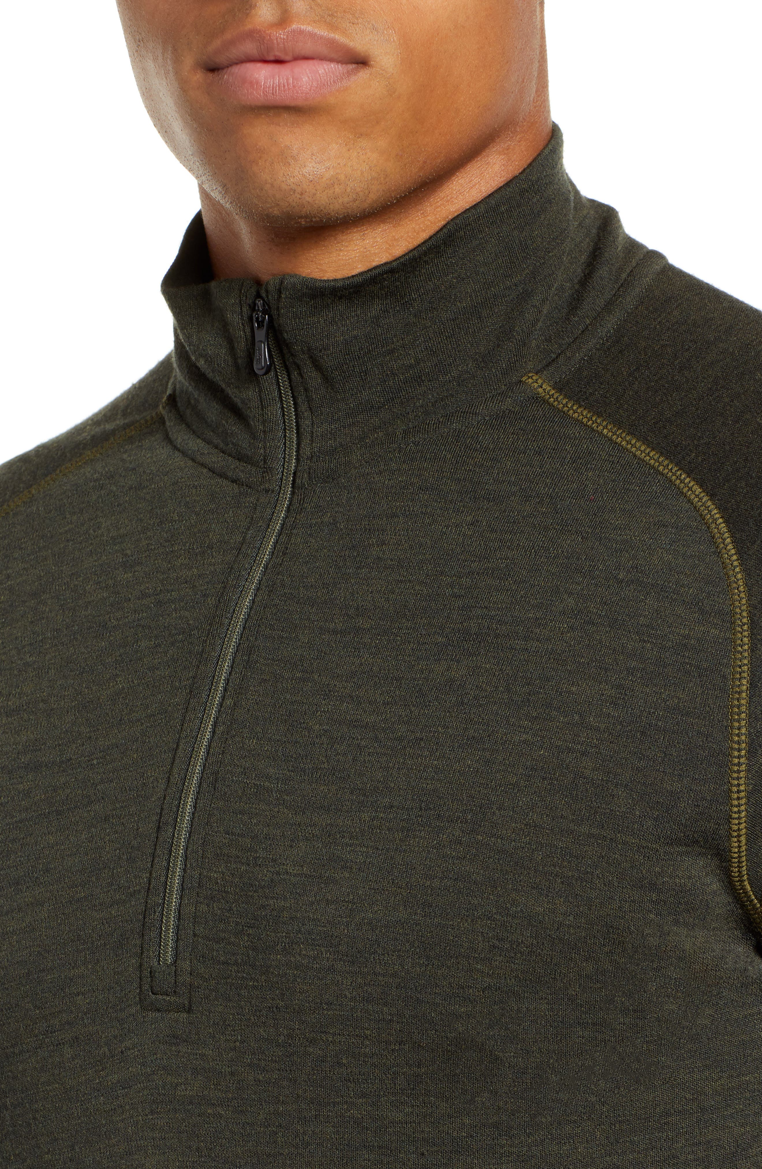 Merino 250 Base Layer Quarter Zip Pullover,                             Alternate thumbnail 4, color,                             OLIVE HEATHER