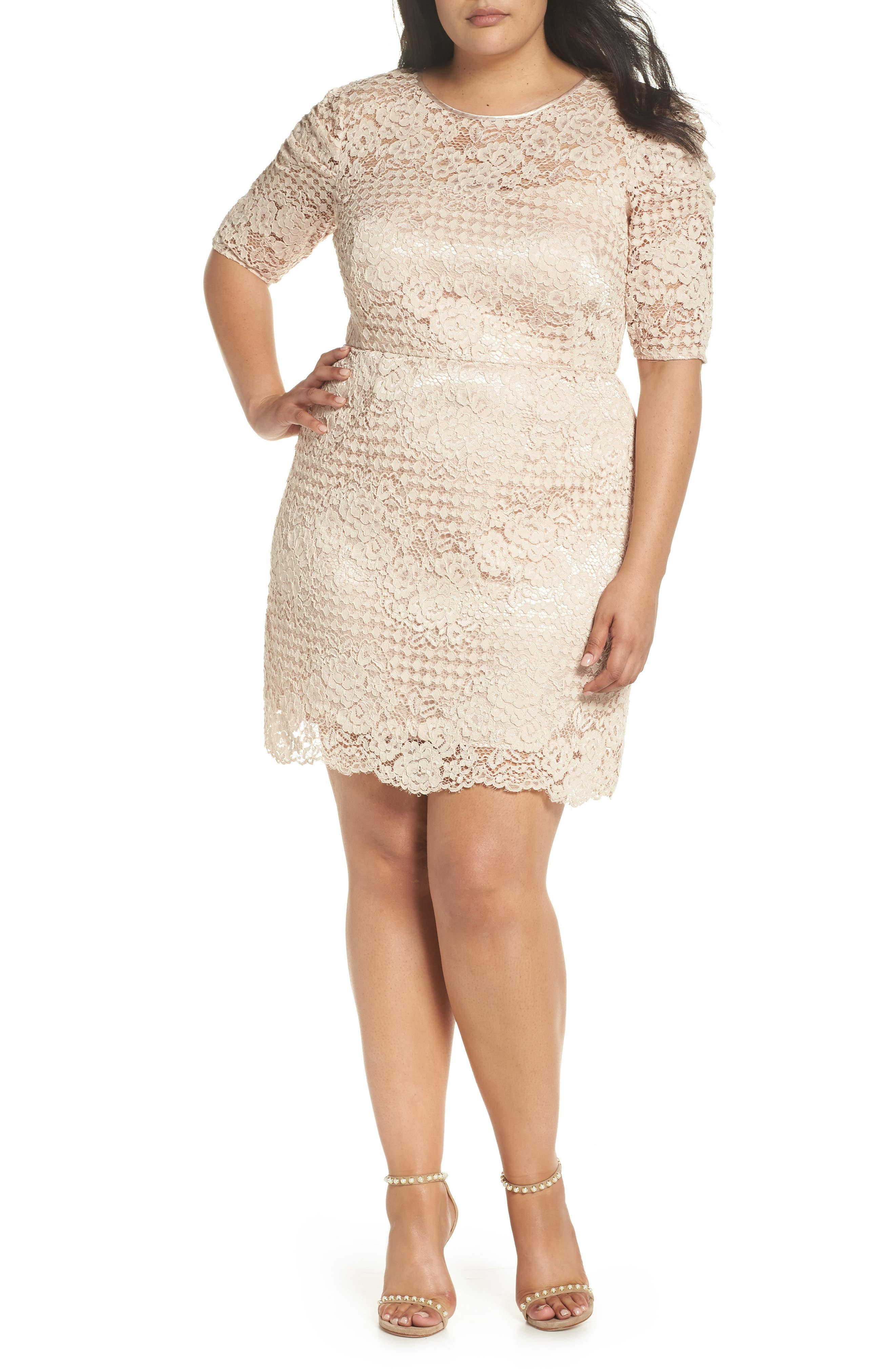 Ruched Sleeve Lace Dress,                             Alternate thumbnail 8, color,                             PINK BLUSH