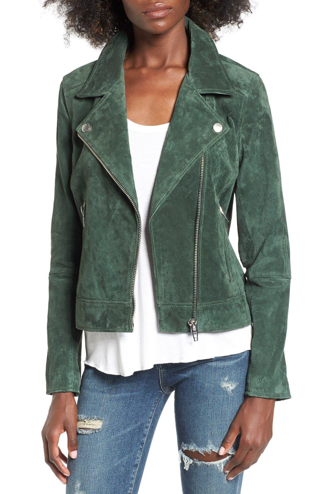Suede Moto Jacket with Detachable Faux Fur Collar,                             Main thumbnail 1, color,                             316