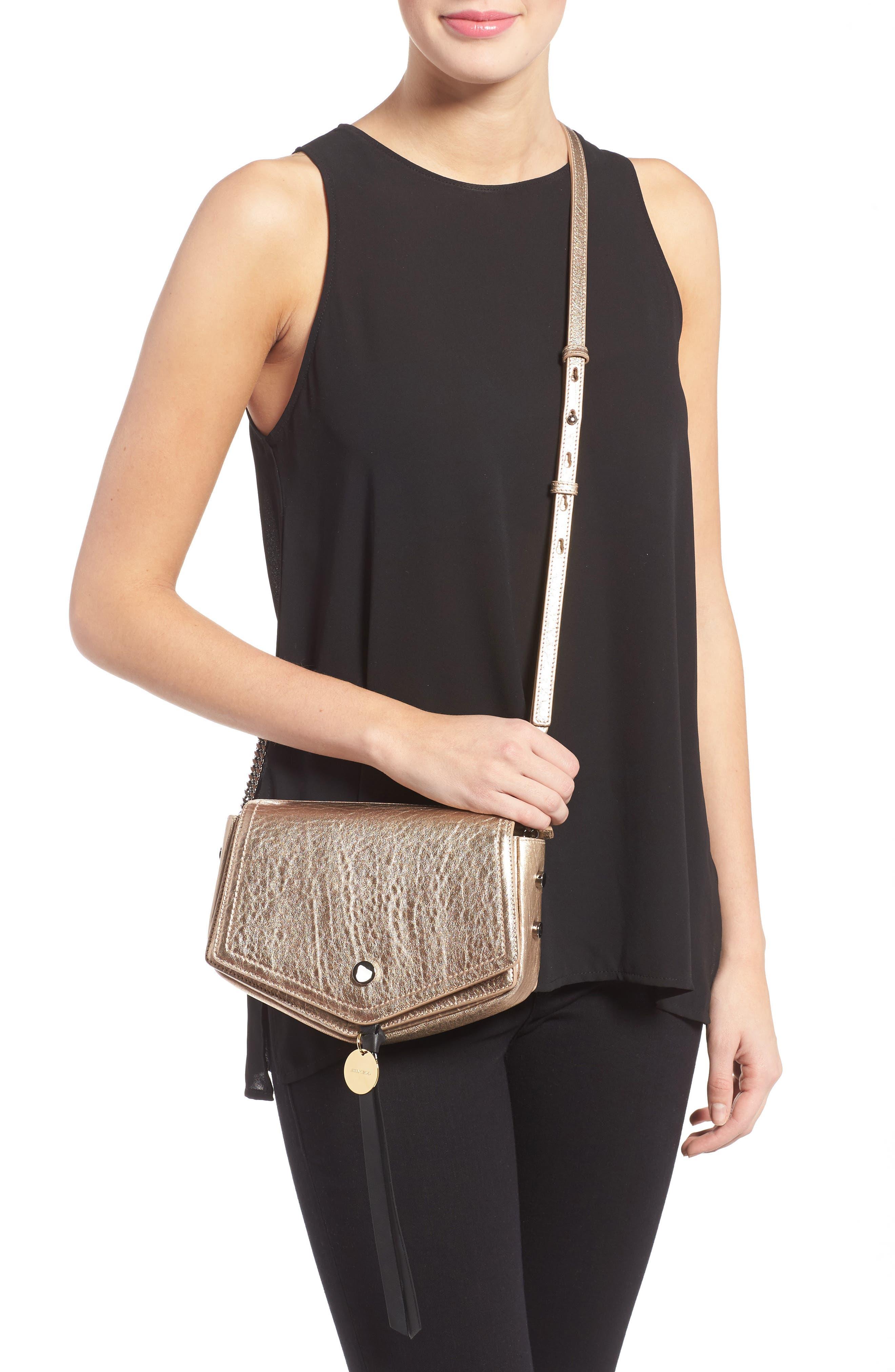 Arrow Metallic Grained Leather Shoulder Bag,                             Alternate thumbnail 6, color,