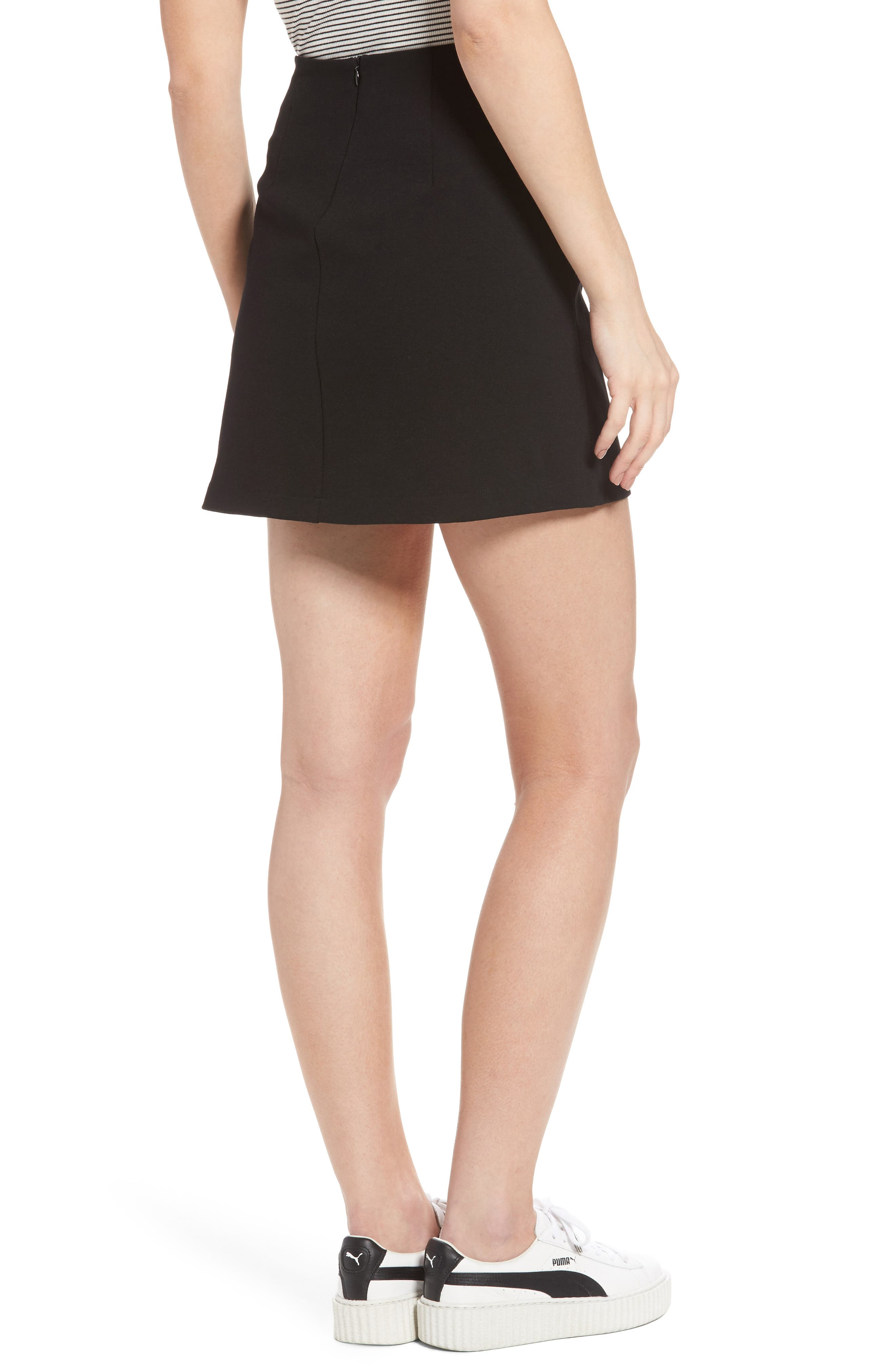 Grommet Lace-Up Miniskirt,                             Alternate thumbnail 2, color,