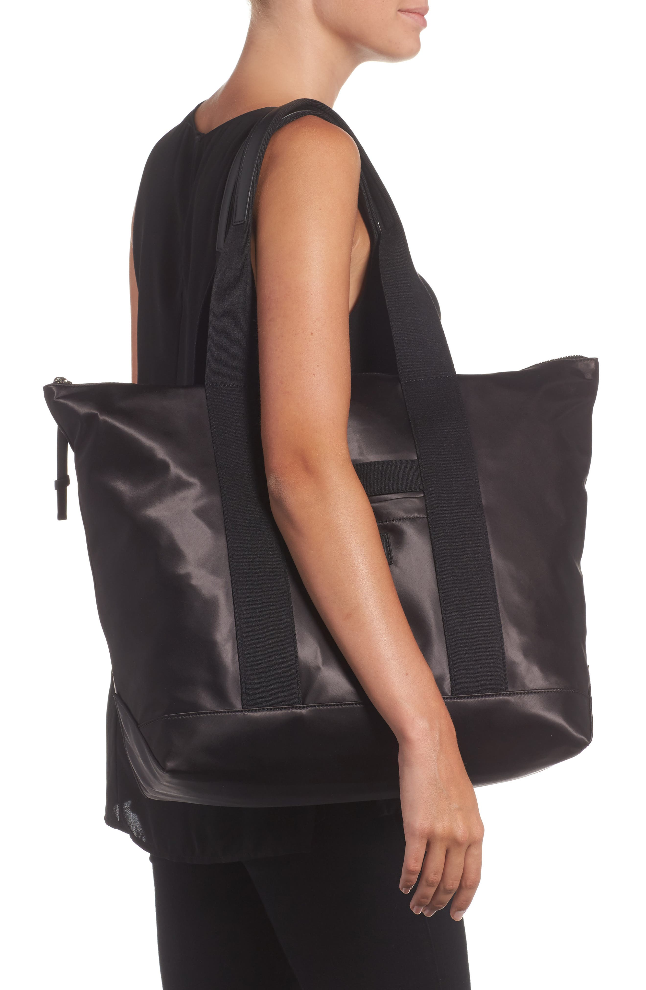 Satin Nylon Tote,                             Alternate thumbnail 2, color,                             001