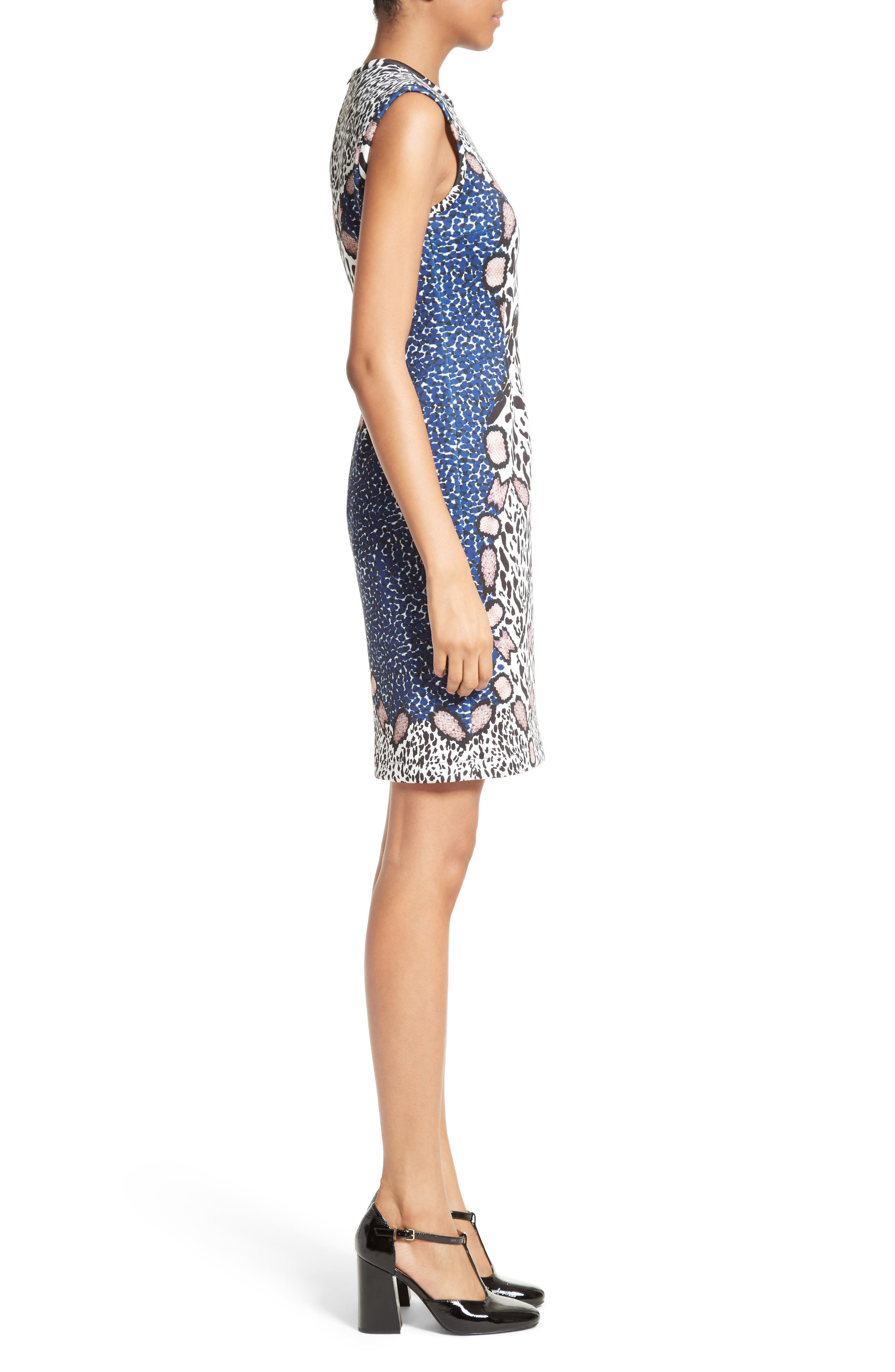 Cheetah Neoprene Sheath Dress,                             Alternate thumbnail 3, color,                             002