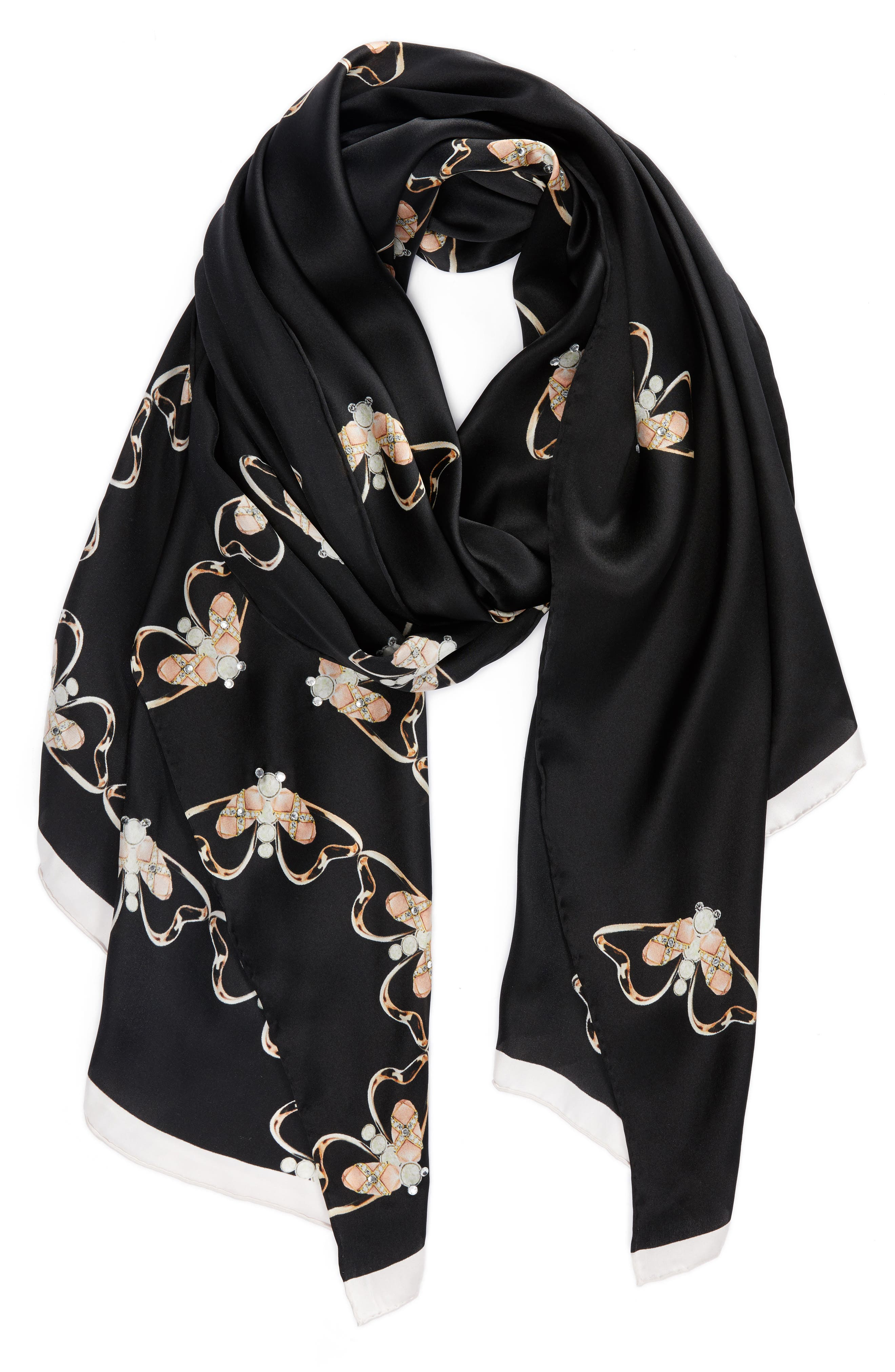 Queen Bee Long Silk Scarf,                             Alternate thumbnail 2, color,