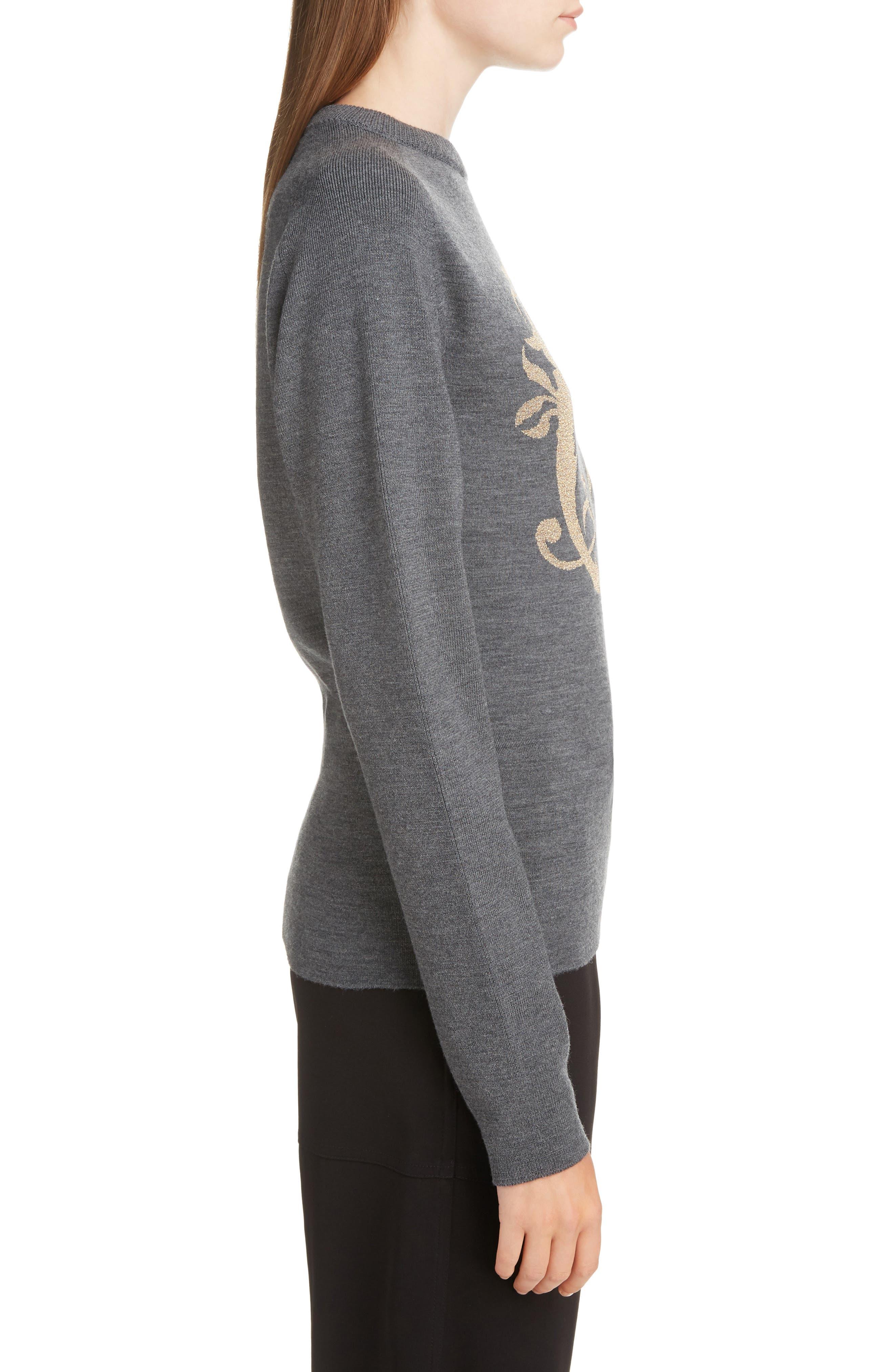 Brocade C Sweater,                             Alternate thumbnail 3, color,                             CONFIDENT GREY
