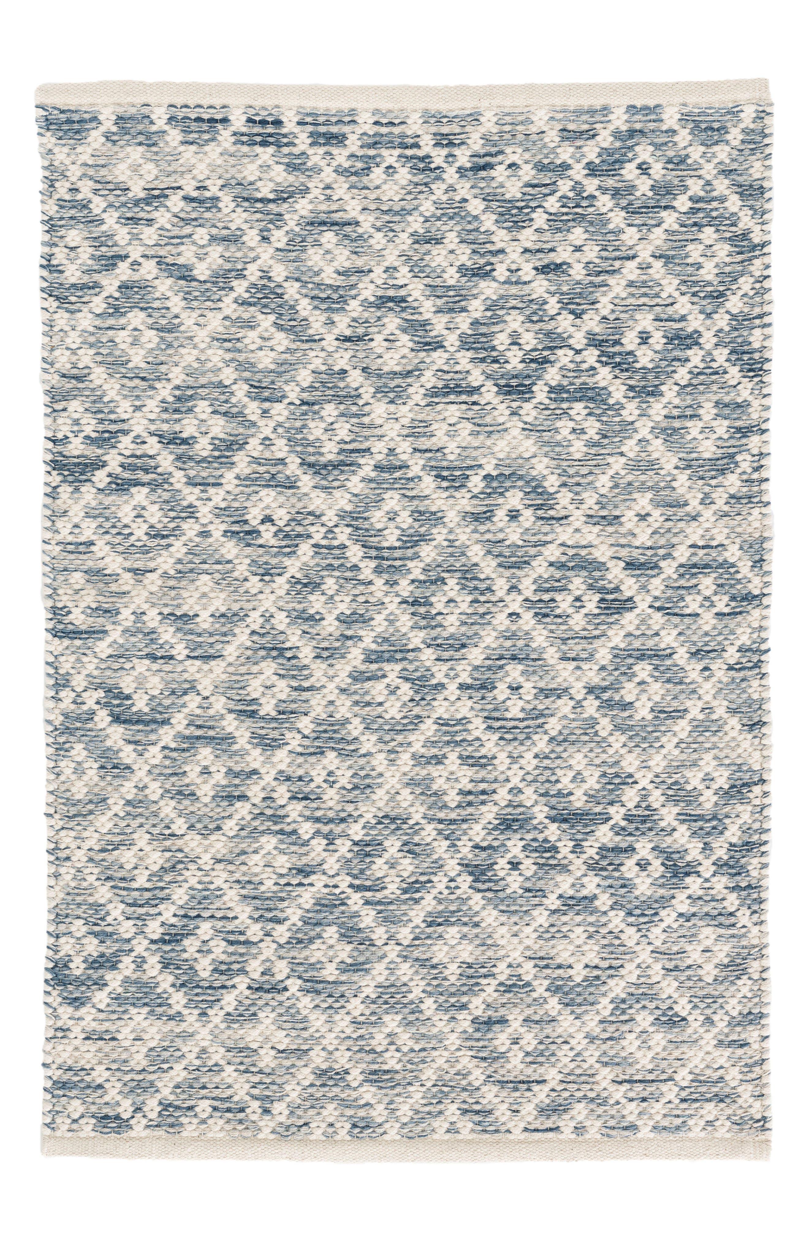 Melange Diamond Woven Rug,                         Main,                         color, BLUE