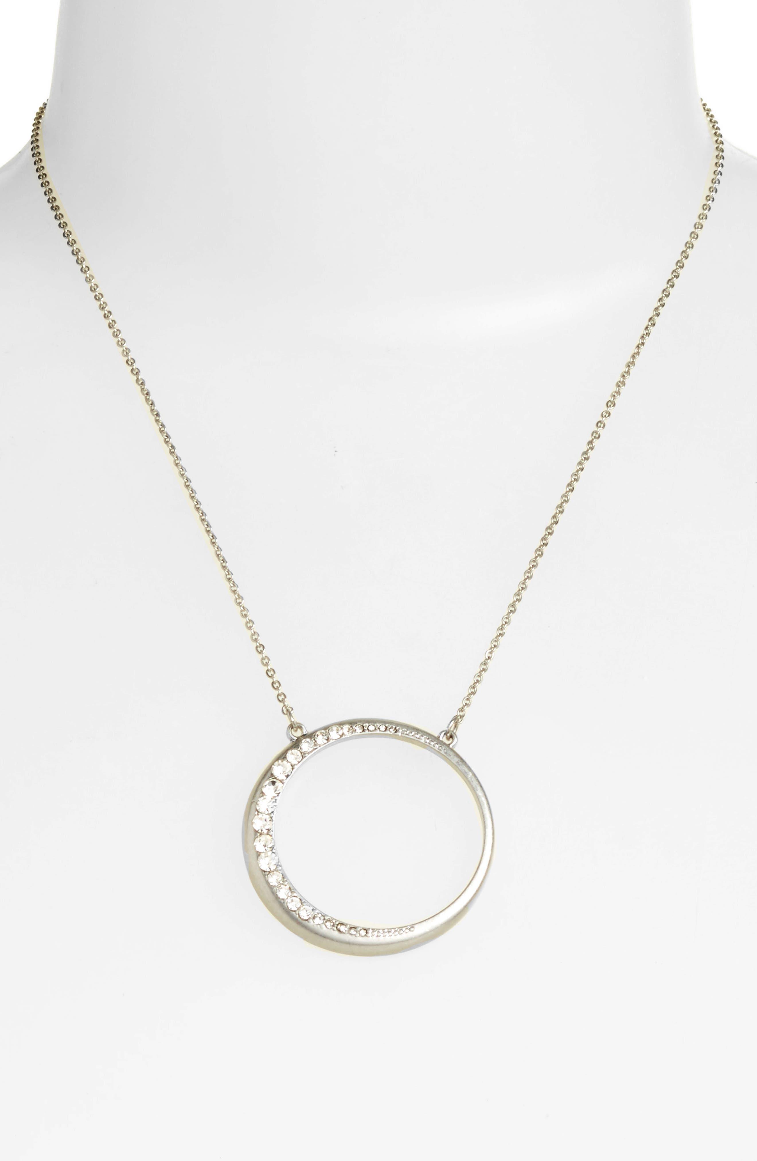 Open Circle Pendant Necklace,                             Alternate thumbnail 3, color,