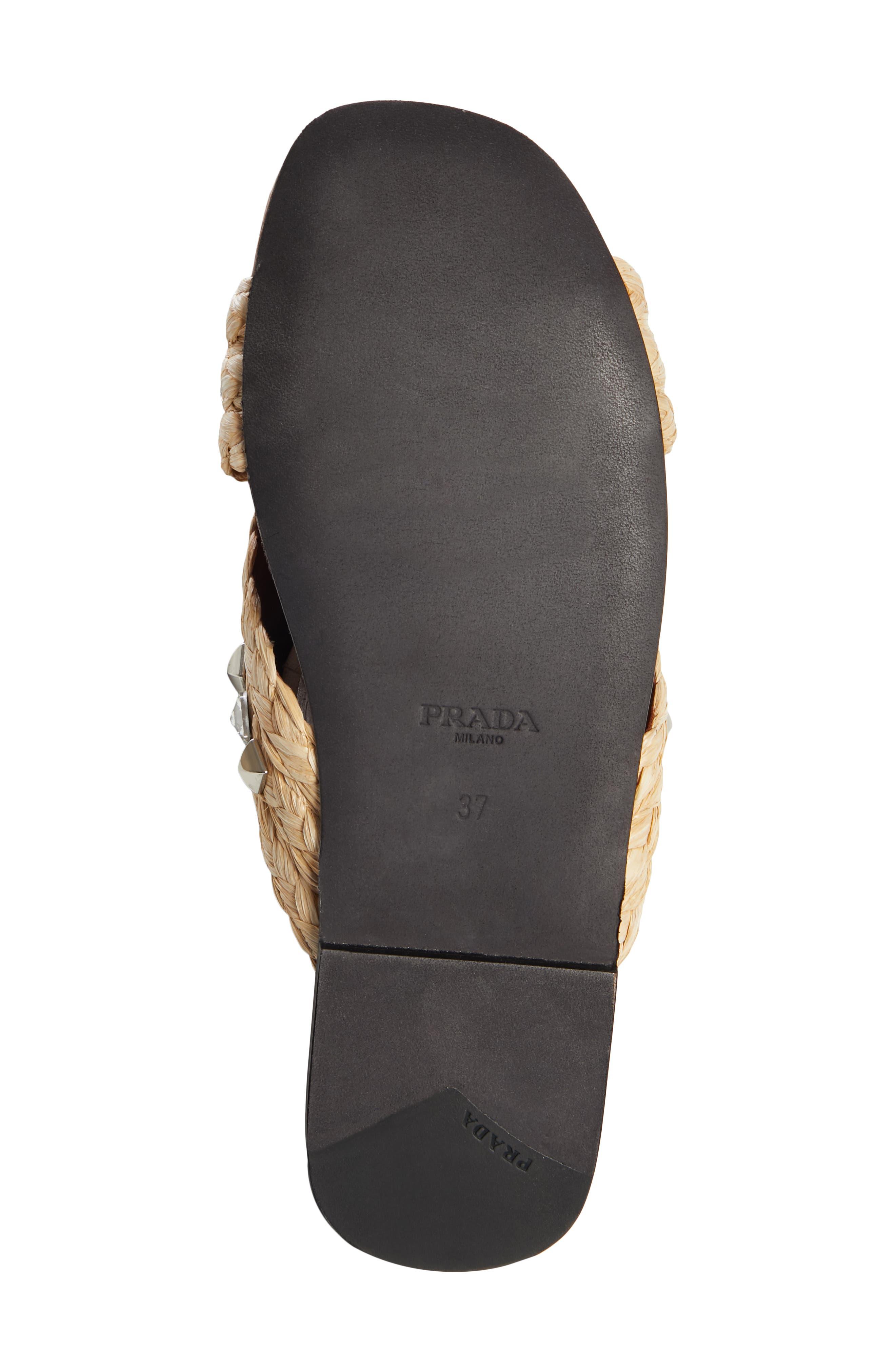 PRADA,                             Embellished Slide Sandal,                             Alternate thumbnail 6, color,                             NATURAL RAFFIA