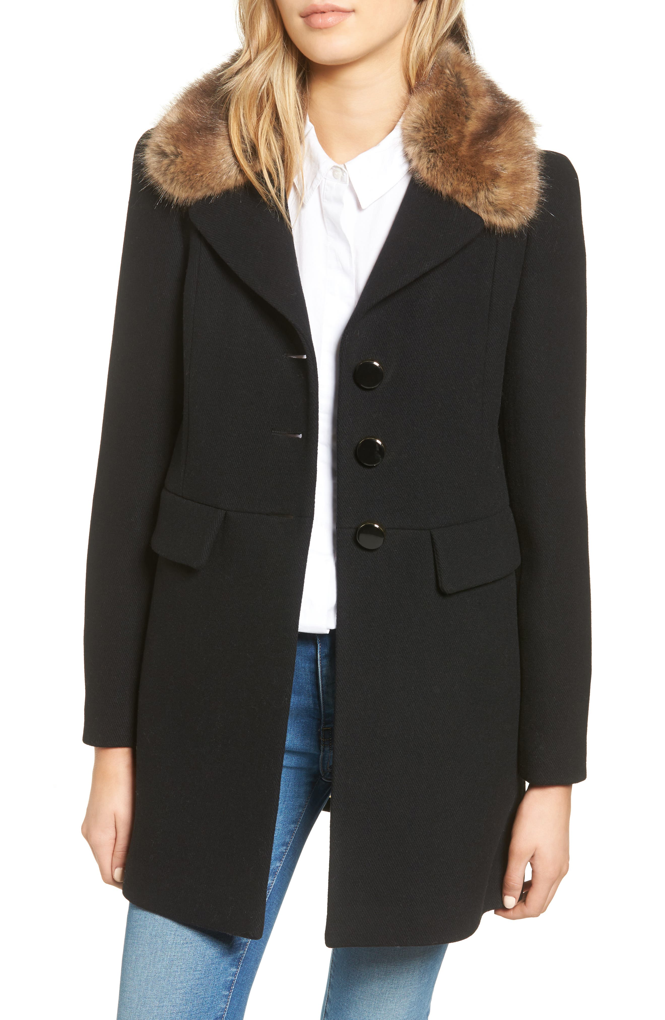 peacoat with faux fur trim,                             Main thumbnail 1, color,                             001