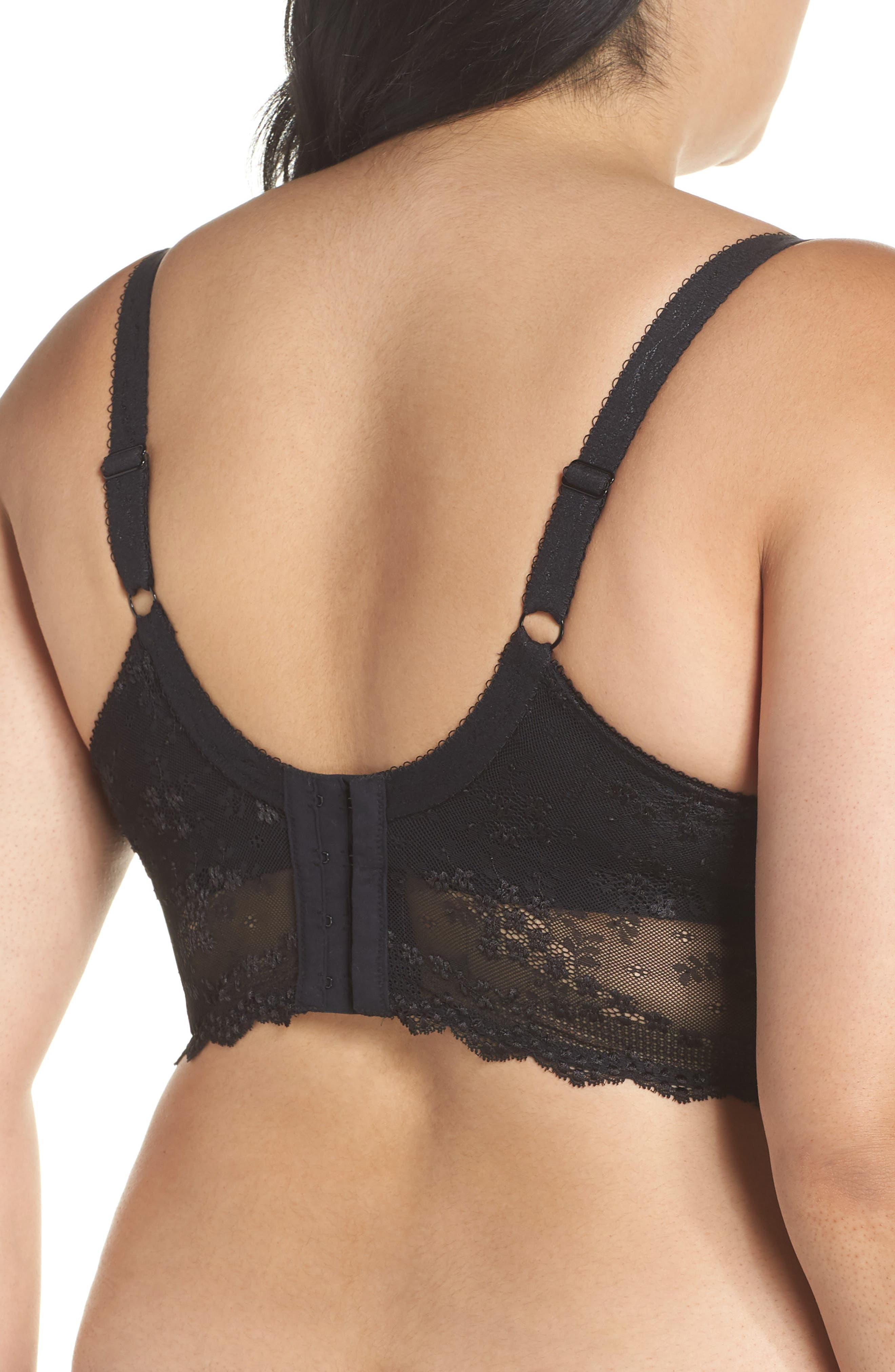 Charley Longline Underwire Bra,                             Alternate thumbnail 2, color,                             BLACK