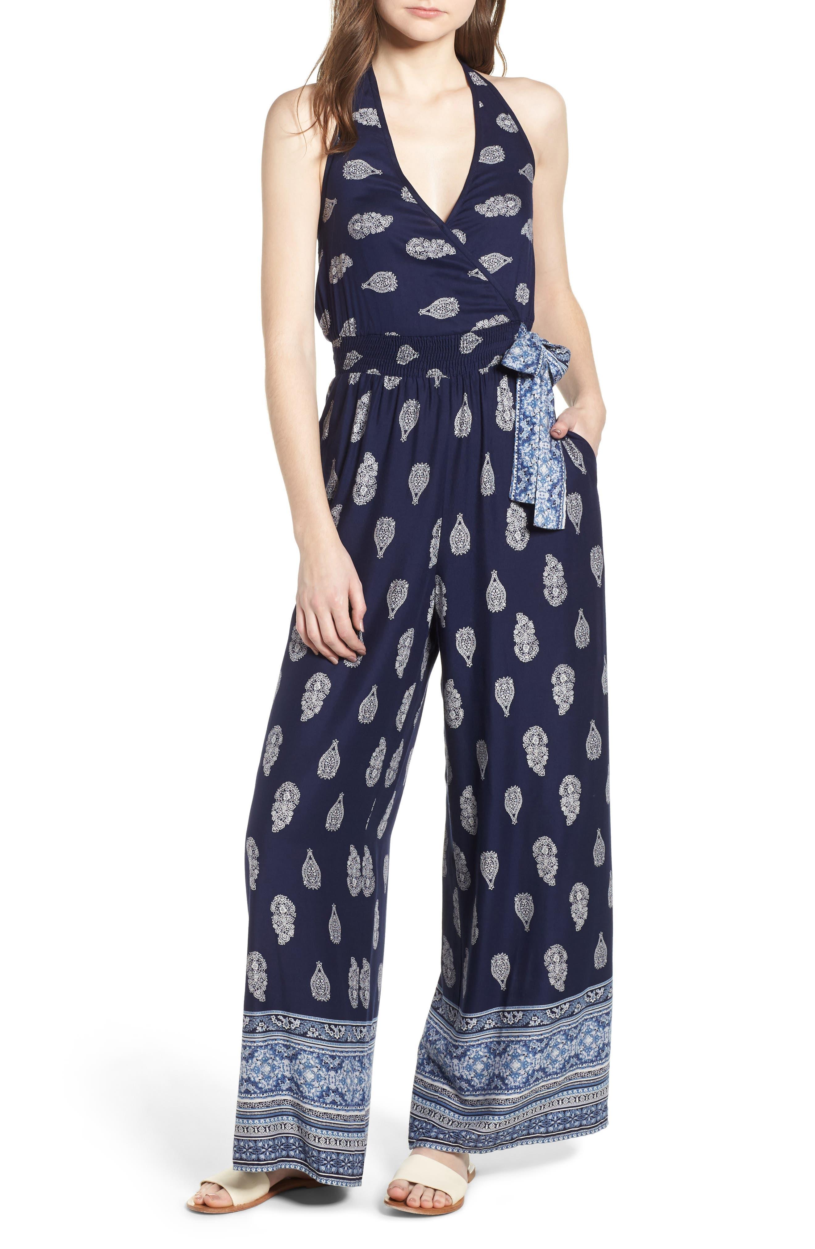 Bandana Print Jumpsuit,                         Main,                         color, NAVY/ WHITE