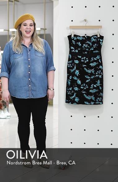 Strapless Sequin Velvet Sheath Dress, sales video thumbnail