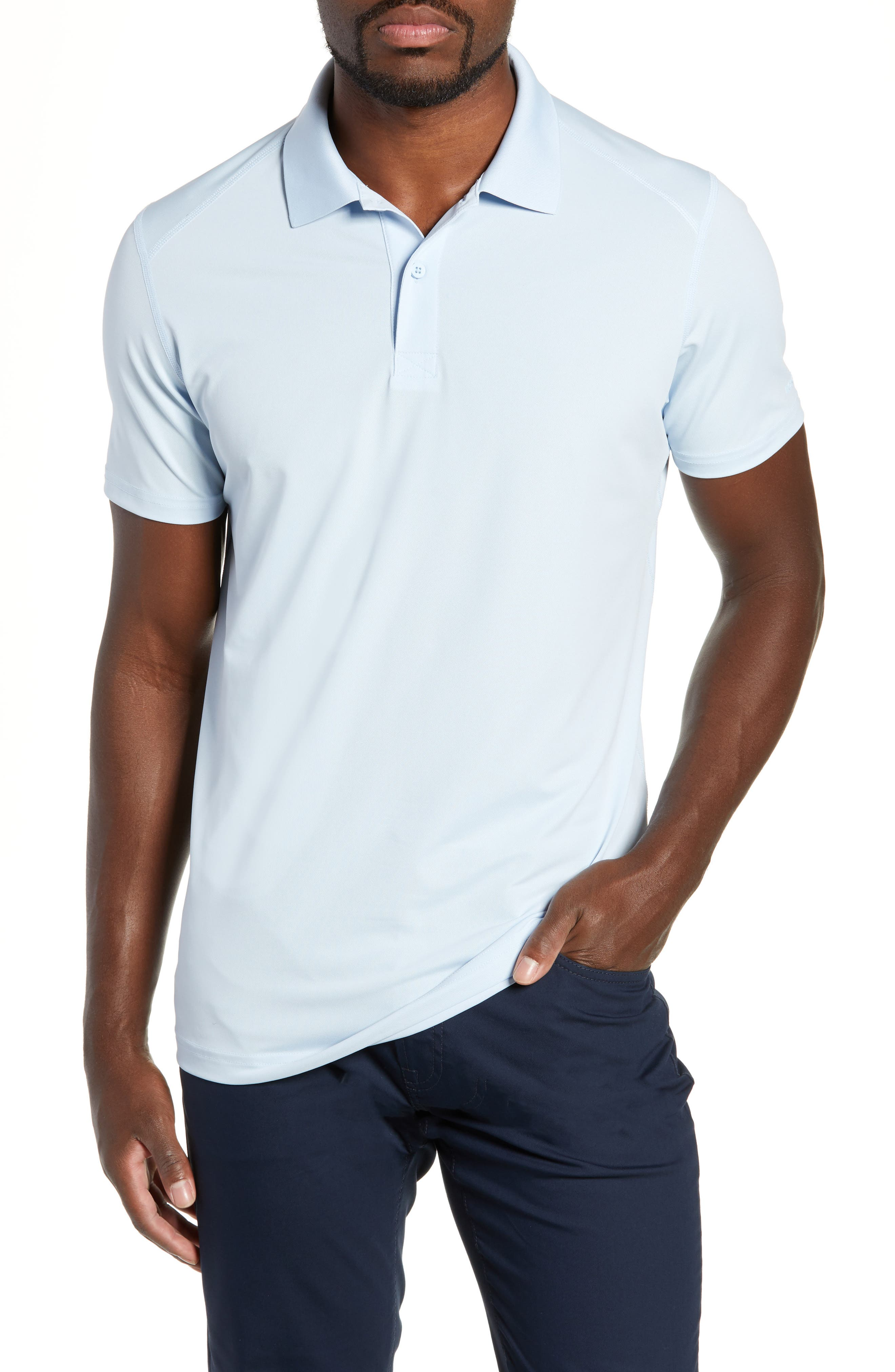 M-Flex Flatiron Slim Fit Golf Polo,                             Main thumbnail 1, color,                             SKY BLUE