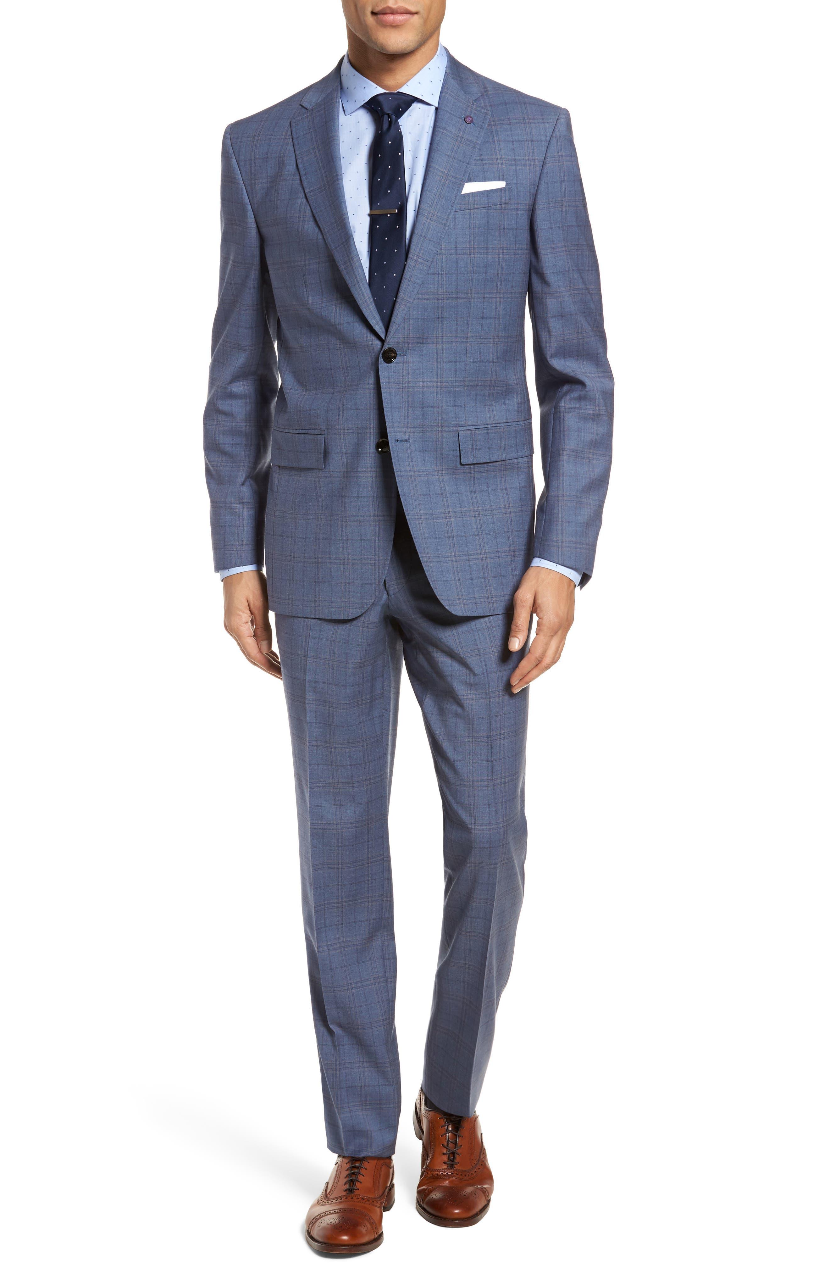 Jay Trim Fit Plaid Wool Suit,                         Main,                         color, 400
