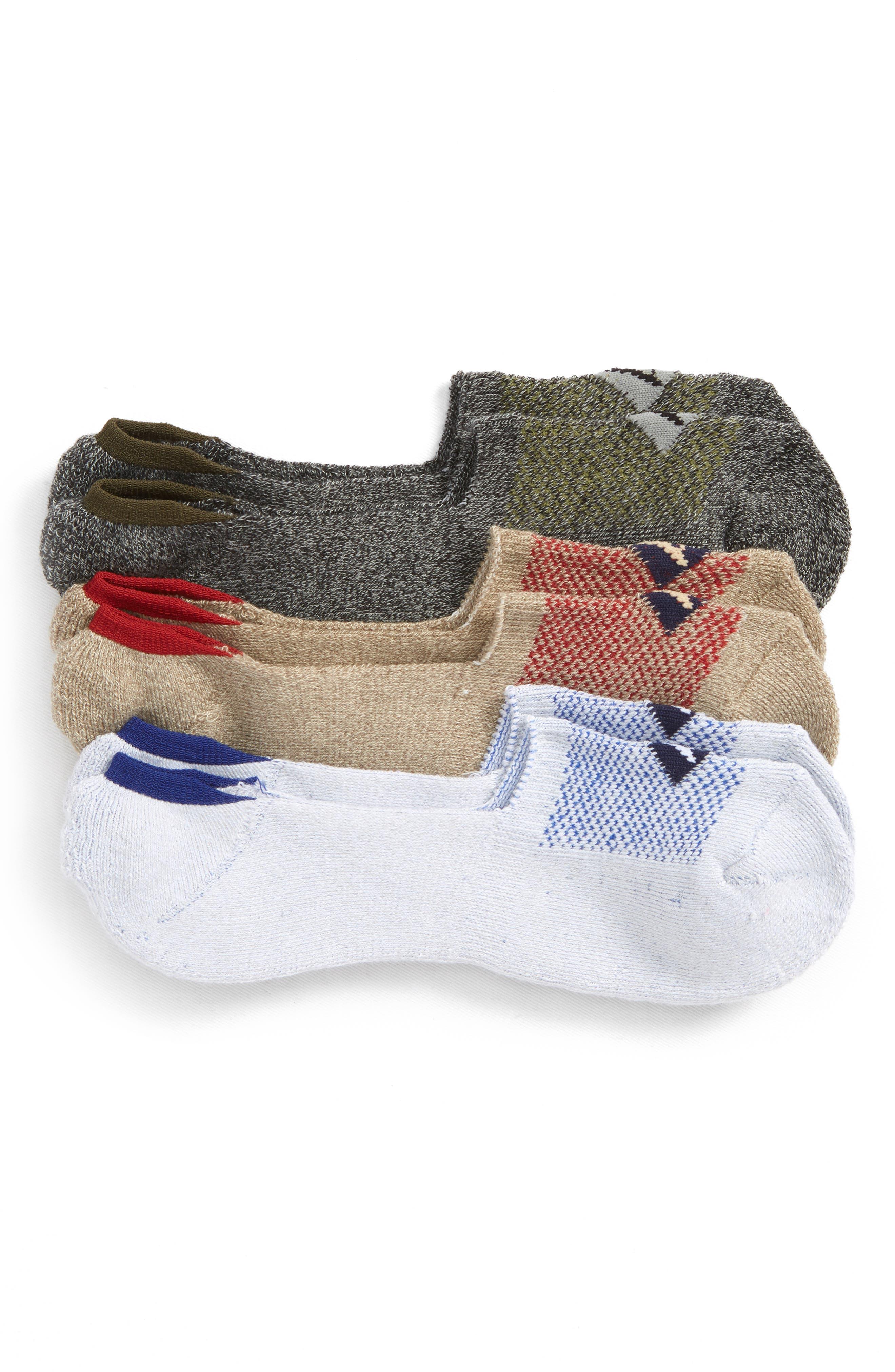 Assorted 3-Pack Liner Socks,                         Main,                         color, GREY MARL ASSORTED