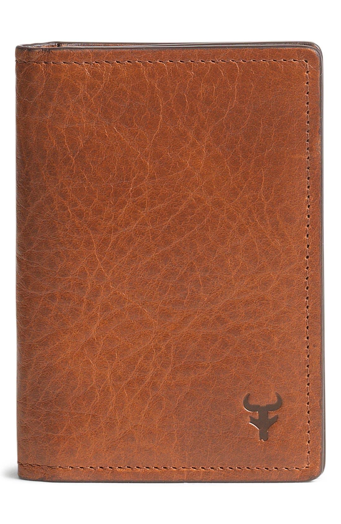 'Jackson' Gusset Pocket Bison Leather Card Case,                             Main thumbnail 1, color,                             200