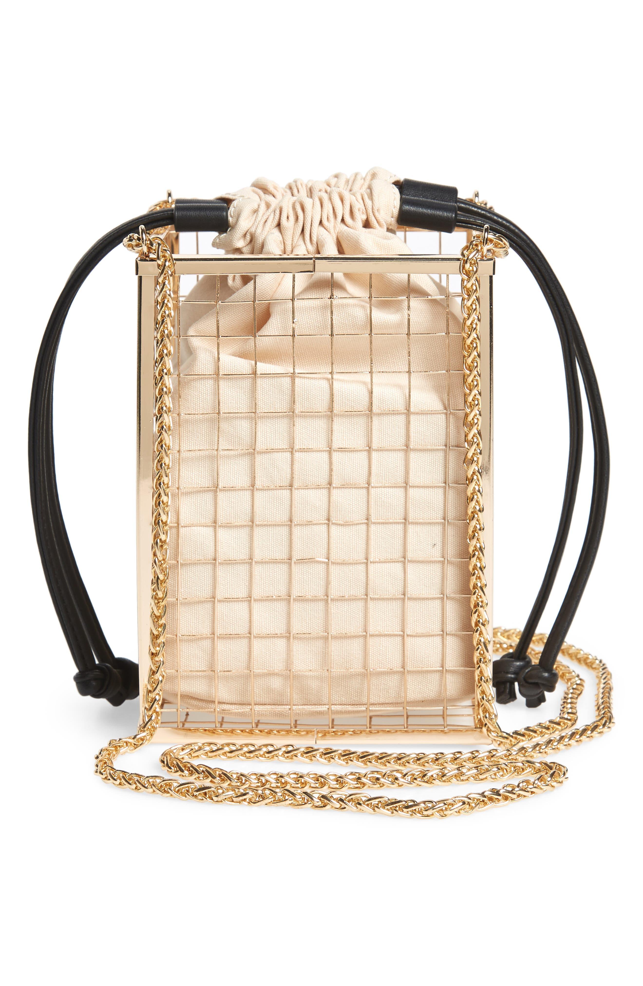 Cara Cage Shoulder Bag,                             Alternate thumbnail 3, color,                             GOLD