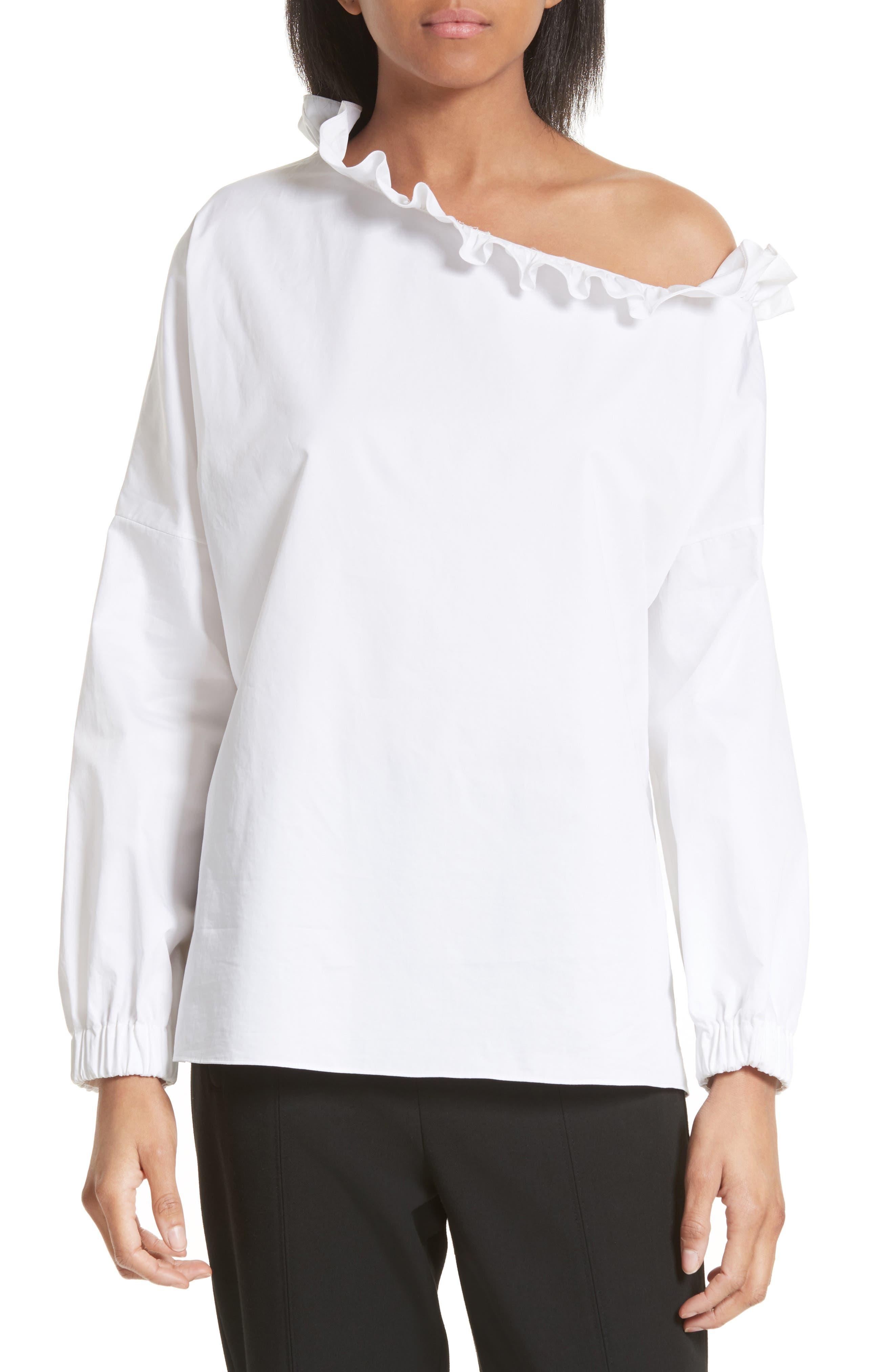 Satin Poplin One-Shoulder Blouse,                         Main,                         color, 100