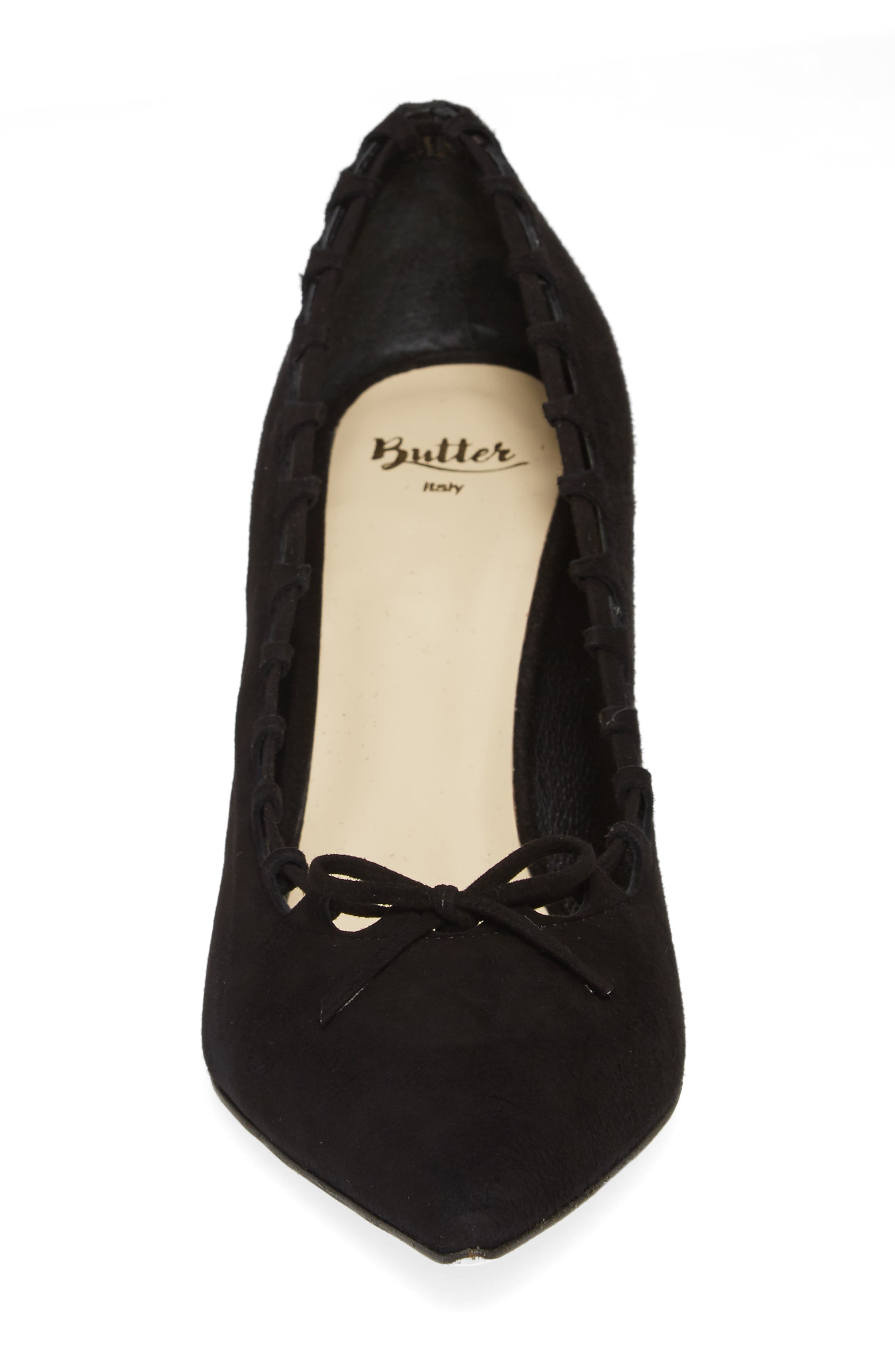 Butter Eris Pointy Toe Pump,                             Alternate thumbnail 4, color,                             001