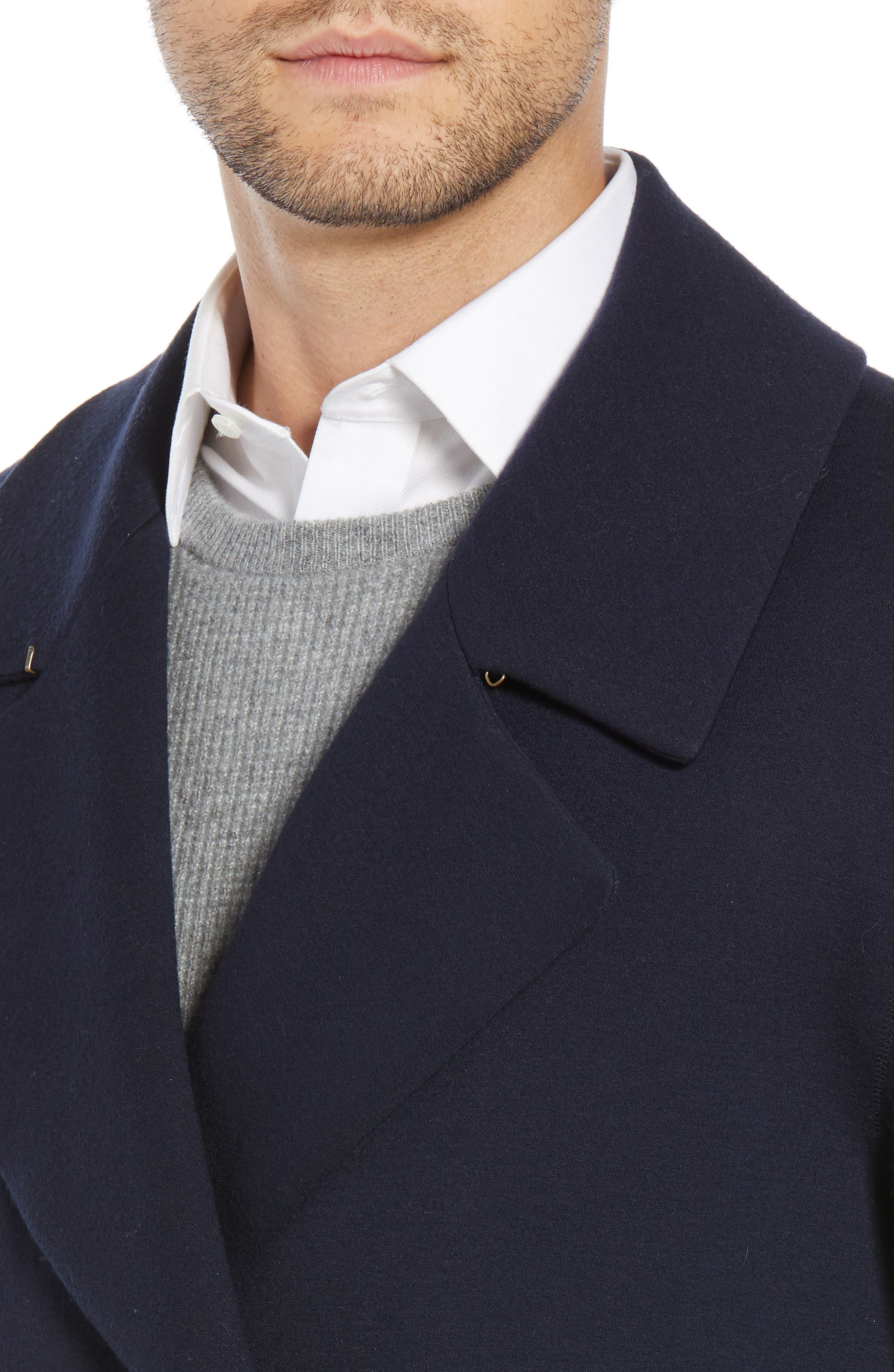 Wool Blend Chesterfield Coat,                             Alternate thumbnail 4, color,                             MIDNIGHT