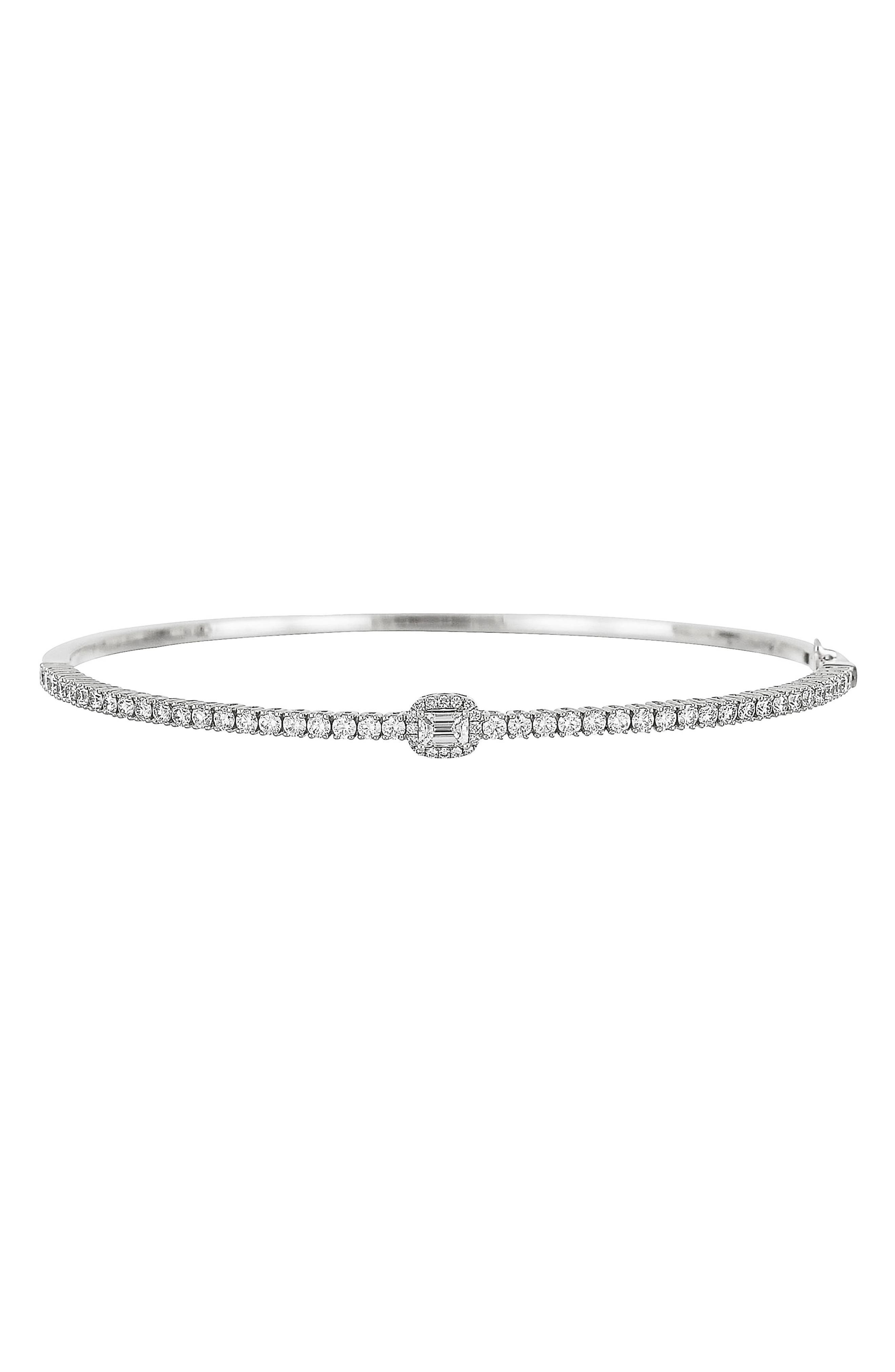 Diamond Single Station Bangle,                             Main thumbnail 1, color,                             WHITE GOLD