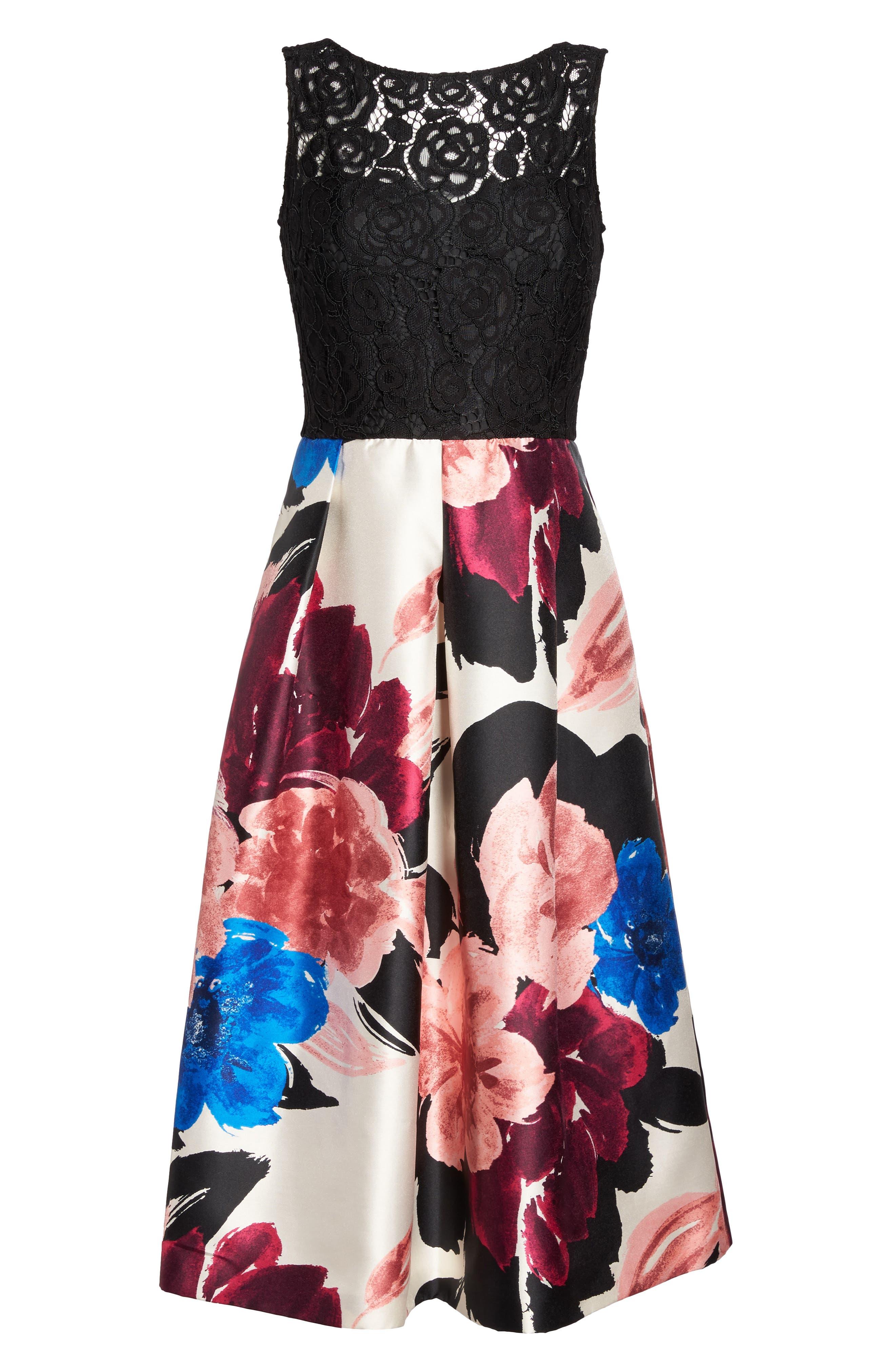 Lace Bodice Midi Dress,                             Alternate thumbnail 6, color,                             006