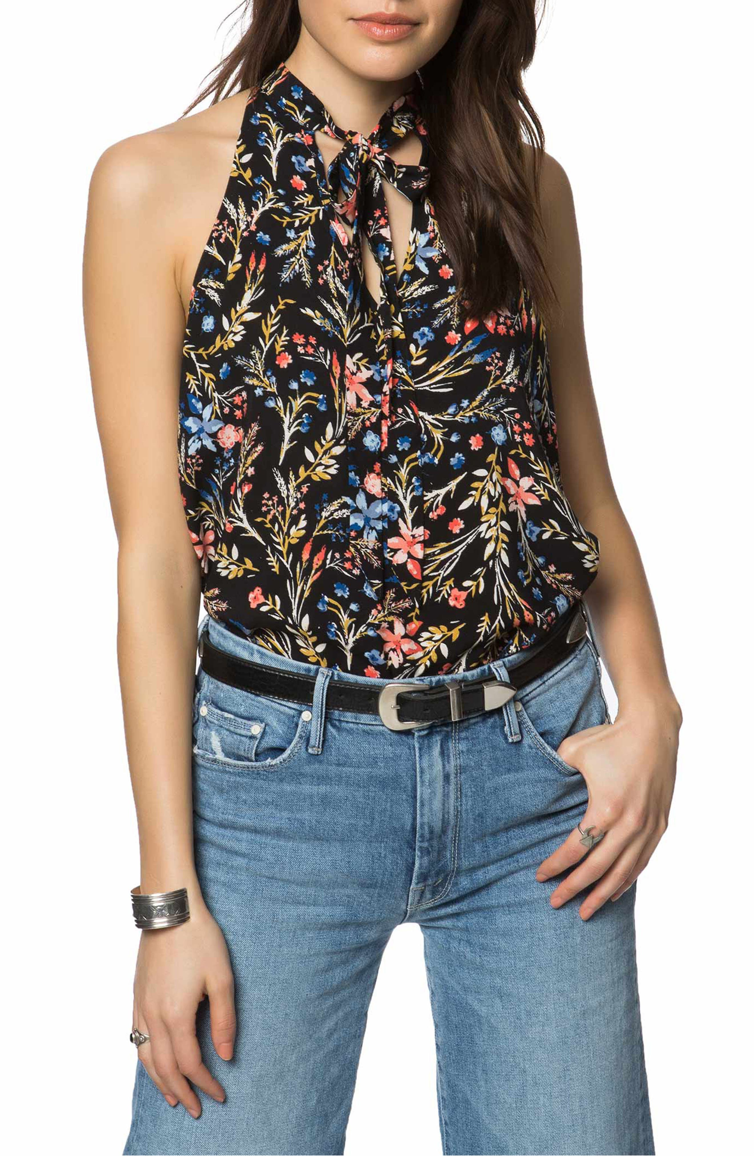Ingrid Floral Print Woven Top,                         Main,                         color, 001