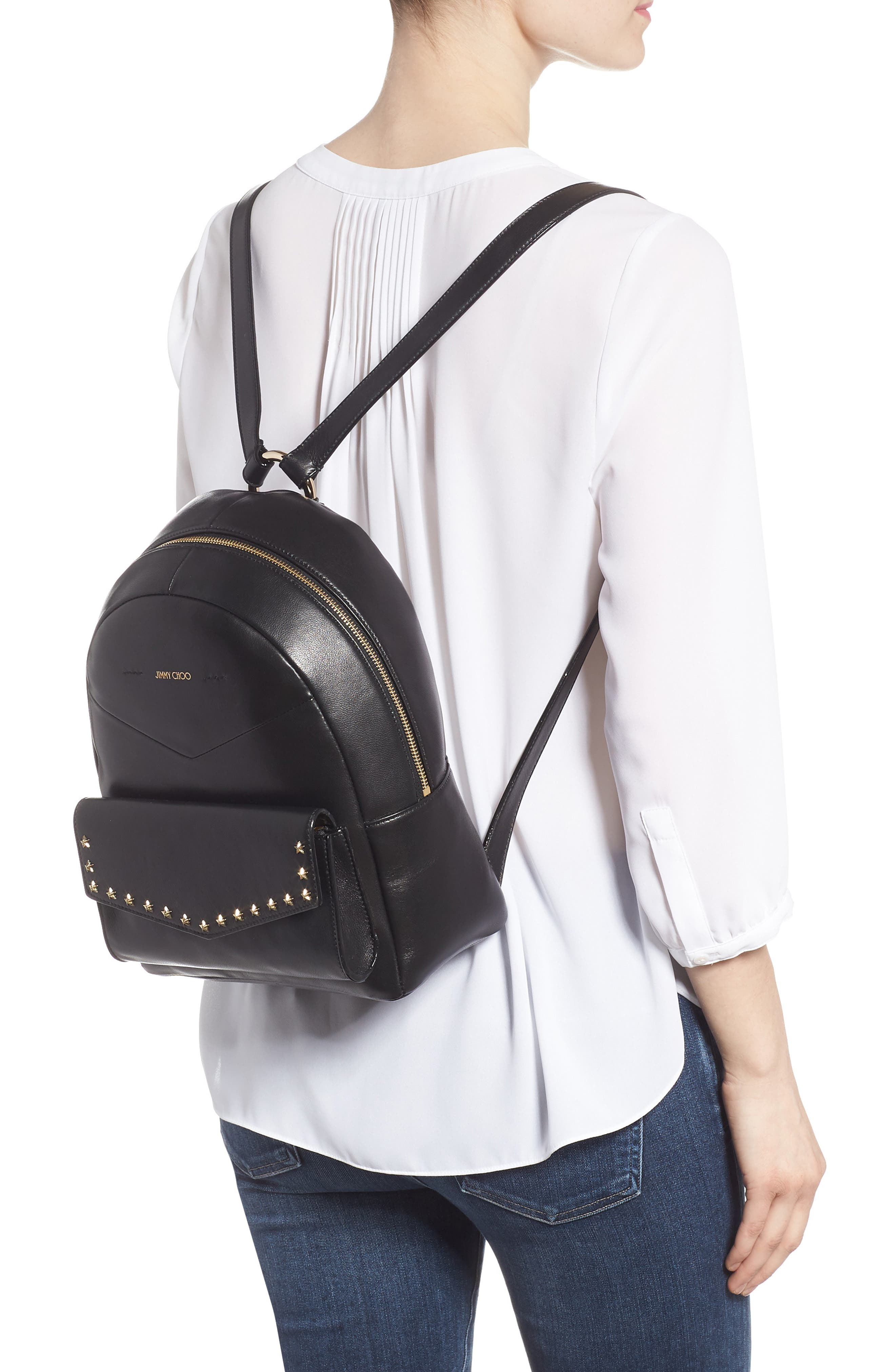 Cassie Star Studded Lambskin Leather Backpack,                             Alternate thumbnail 2, color,                             BLACK