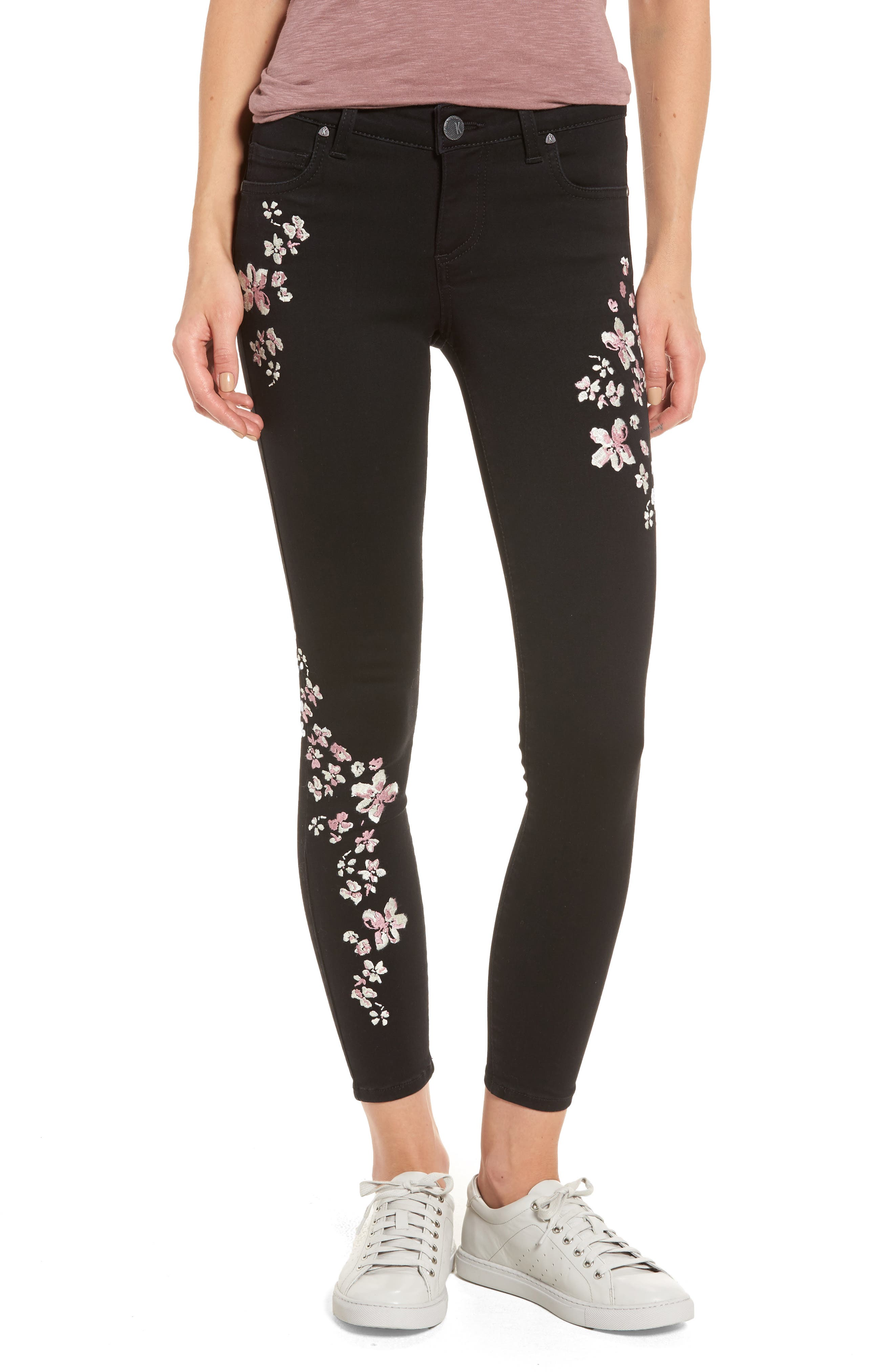 Connie Embroidered Skinny Ankle Jeans,                         Main,                         color, 002